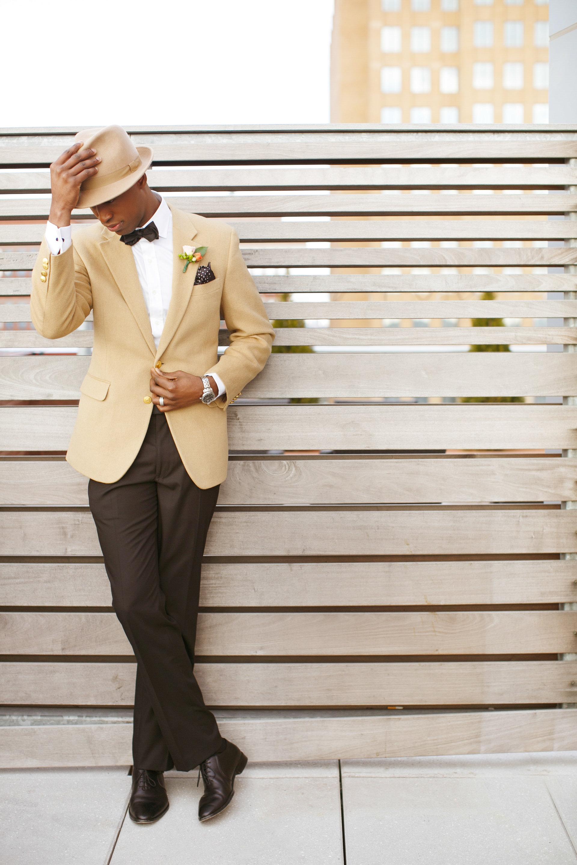 tan suit jacket