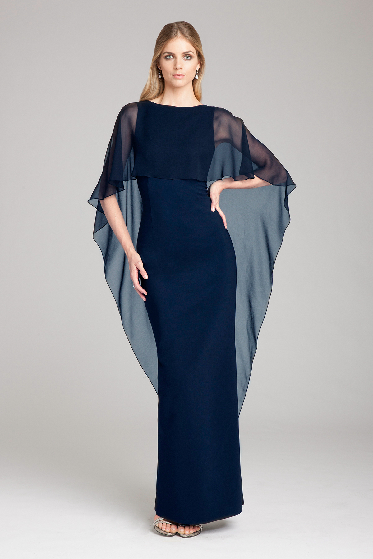 mother of the bride dress navy blue scuba gown