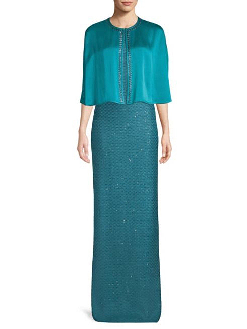 mother of the bride dress teal color shimmer knit gown