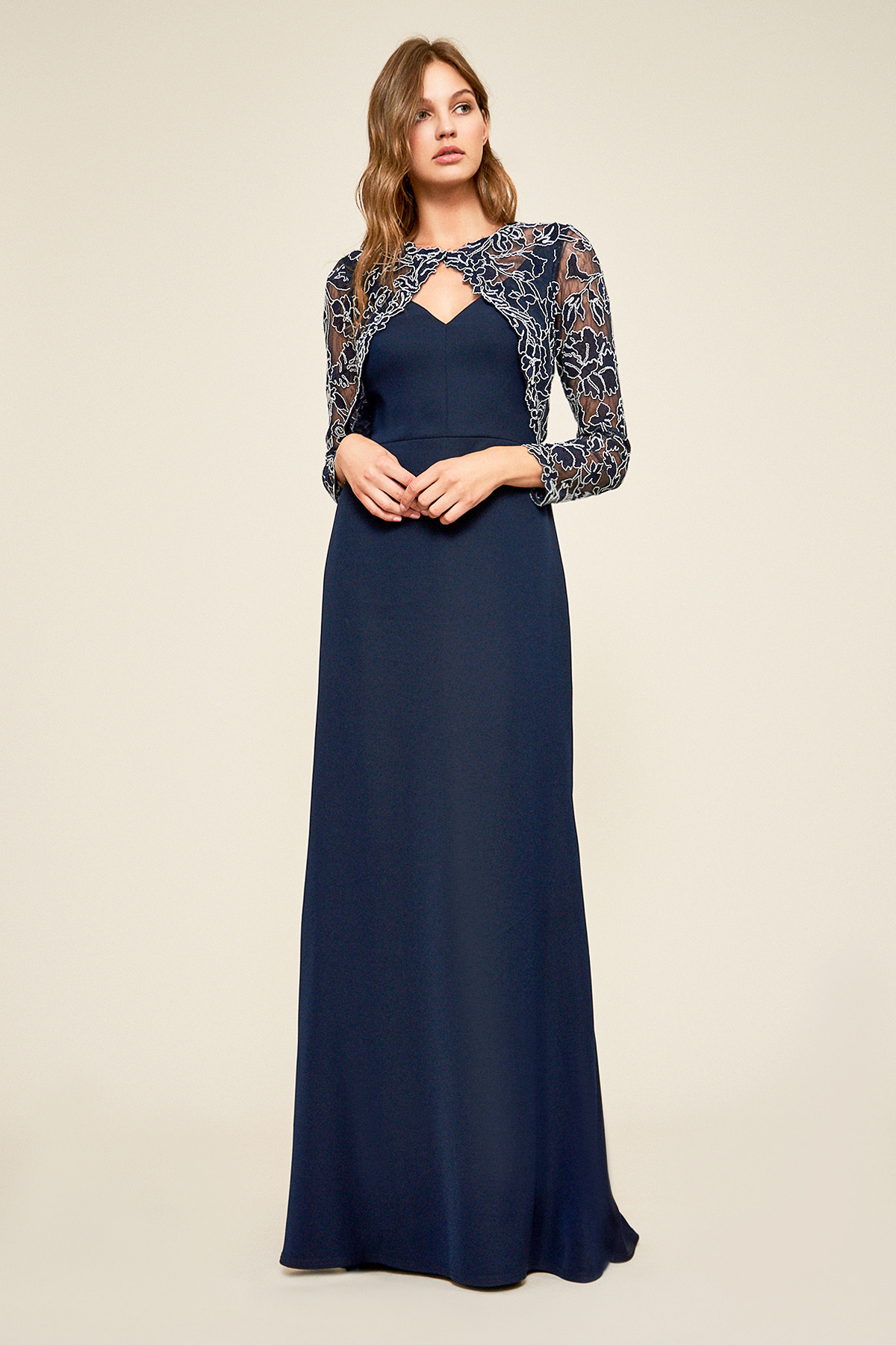 mother of the bride dress embroidered crepe gown