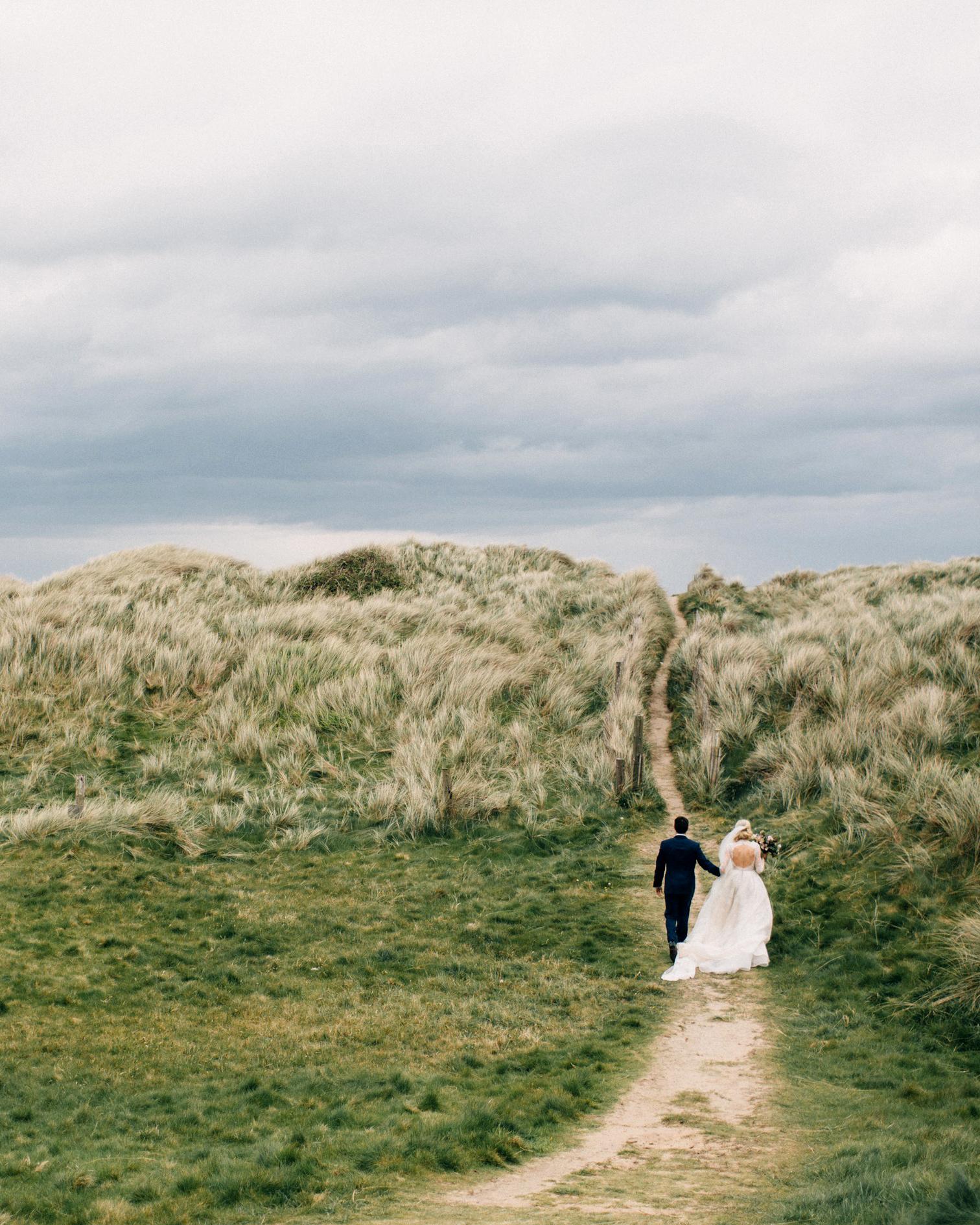 simone darren wedding ireland couple walking away