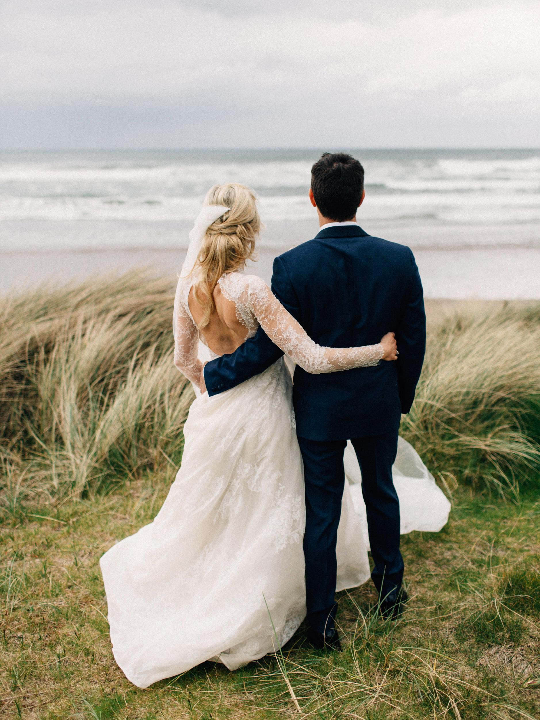 simone darren wedding ireland couple looking away backs