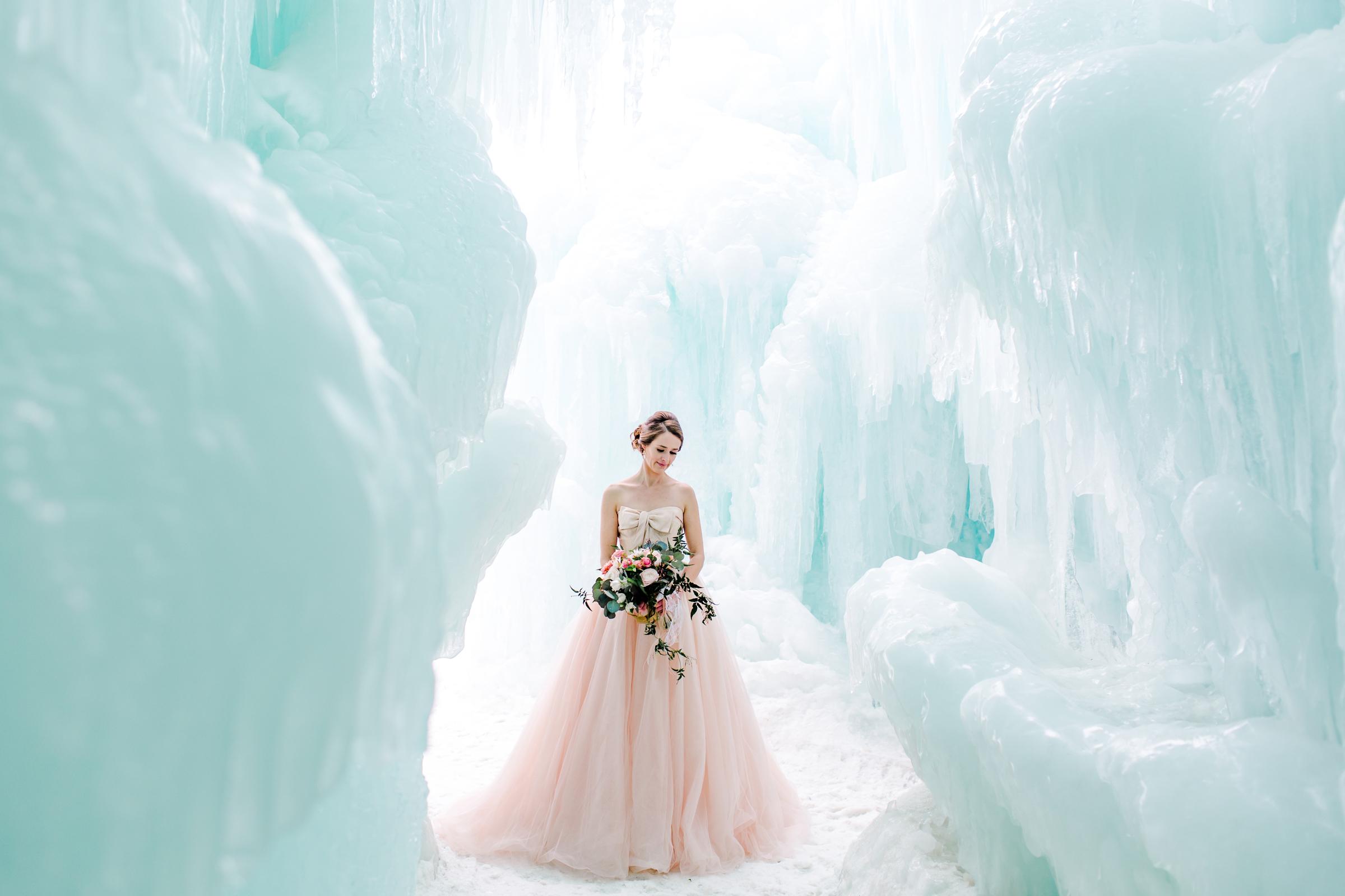 icy wedding photo