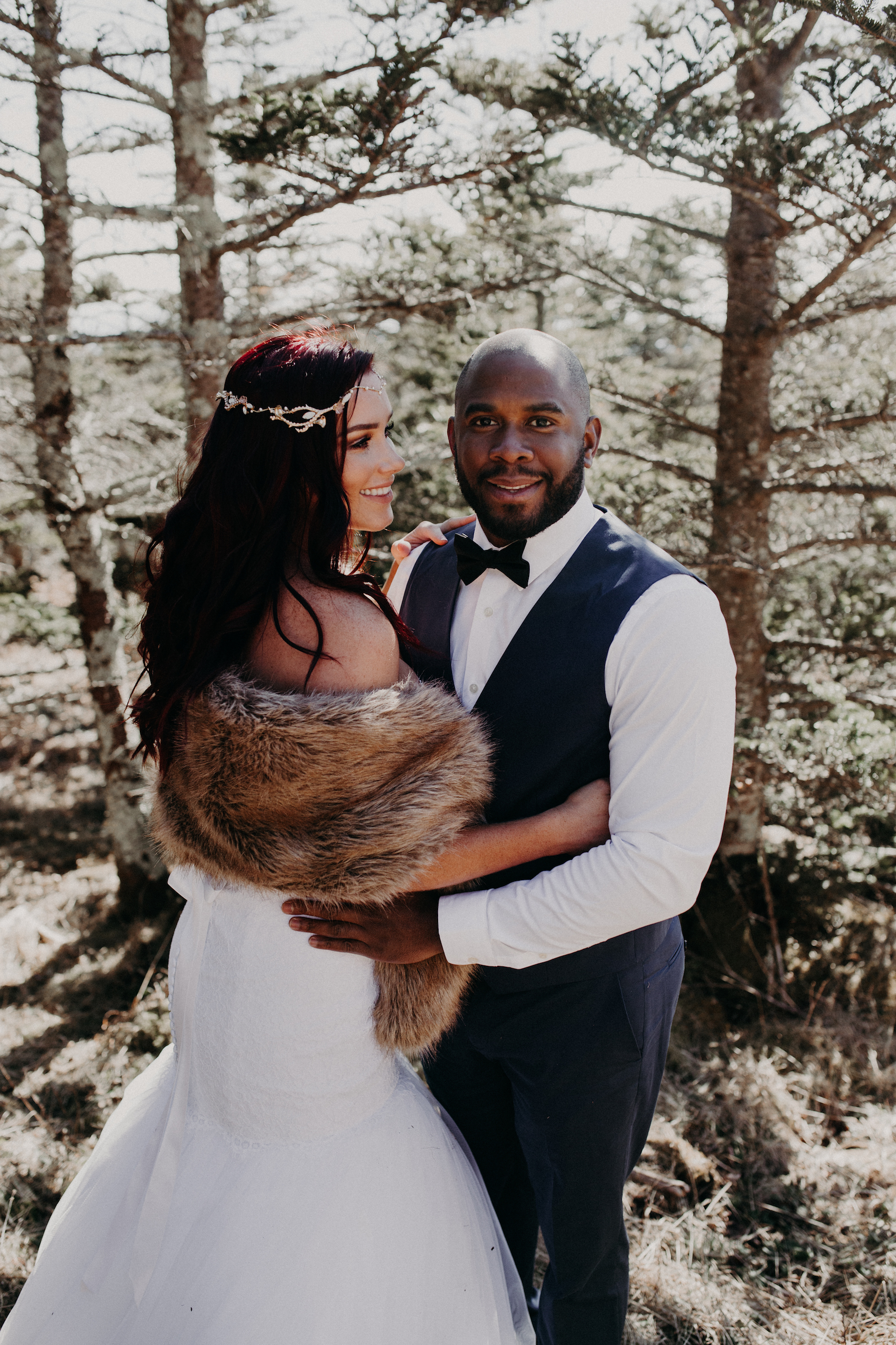 winter bride and groom