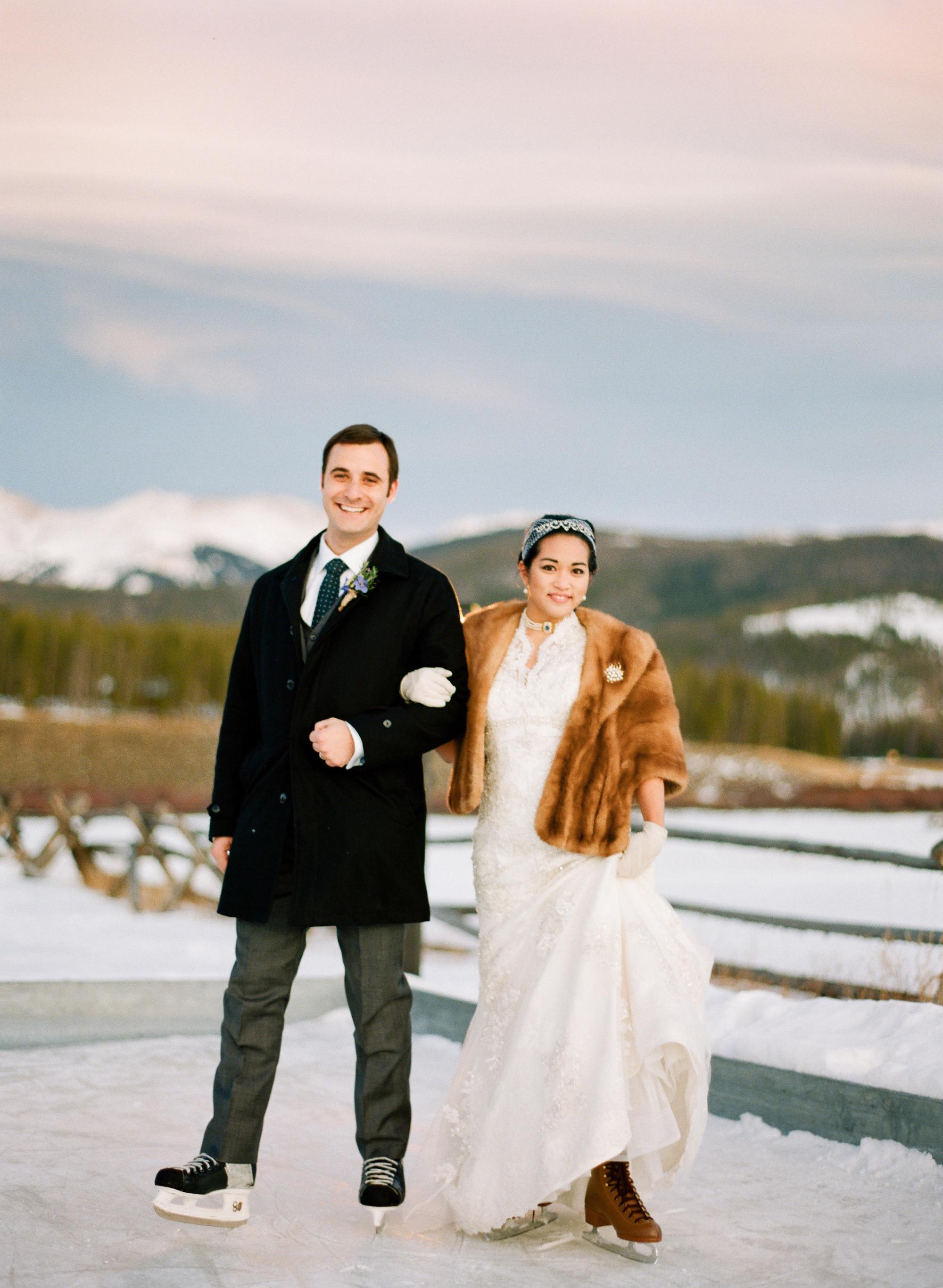 bride and groom ice skating
