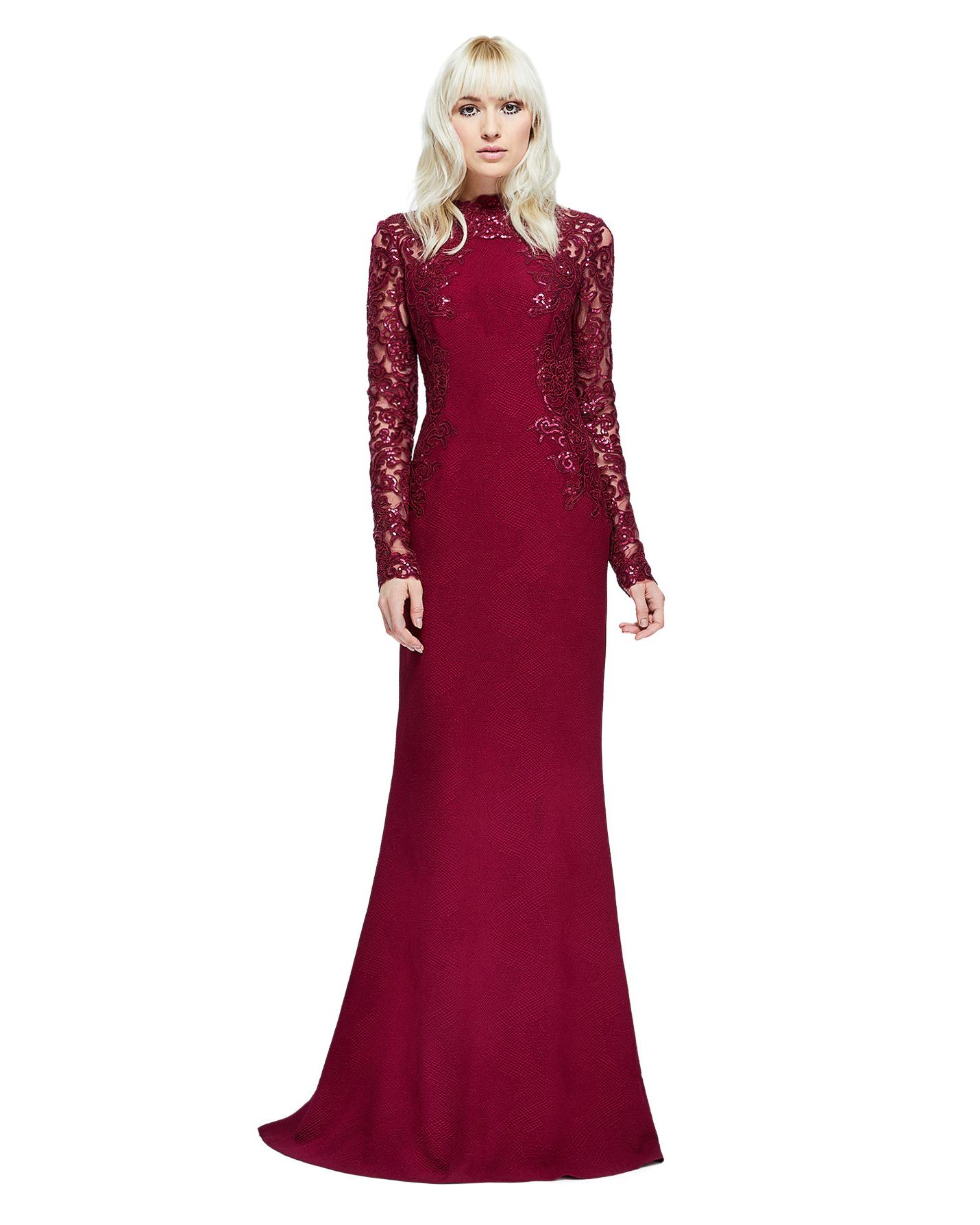 burgundy long sleeve gown