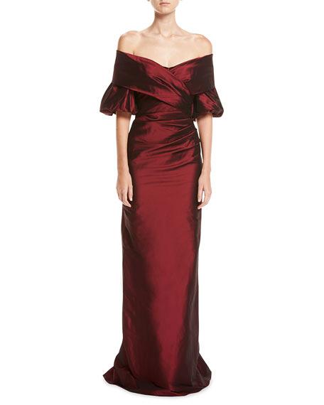 burgundy off-shoulder gown
