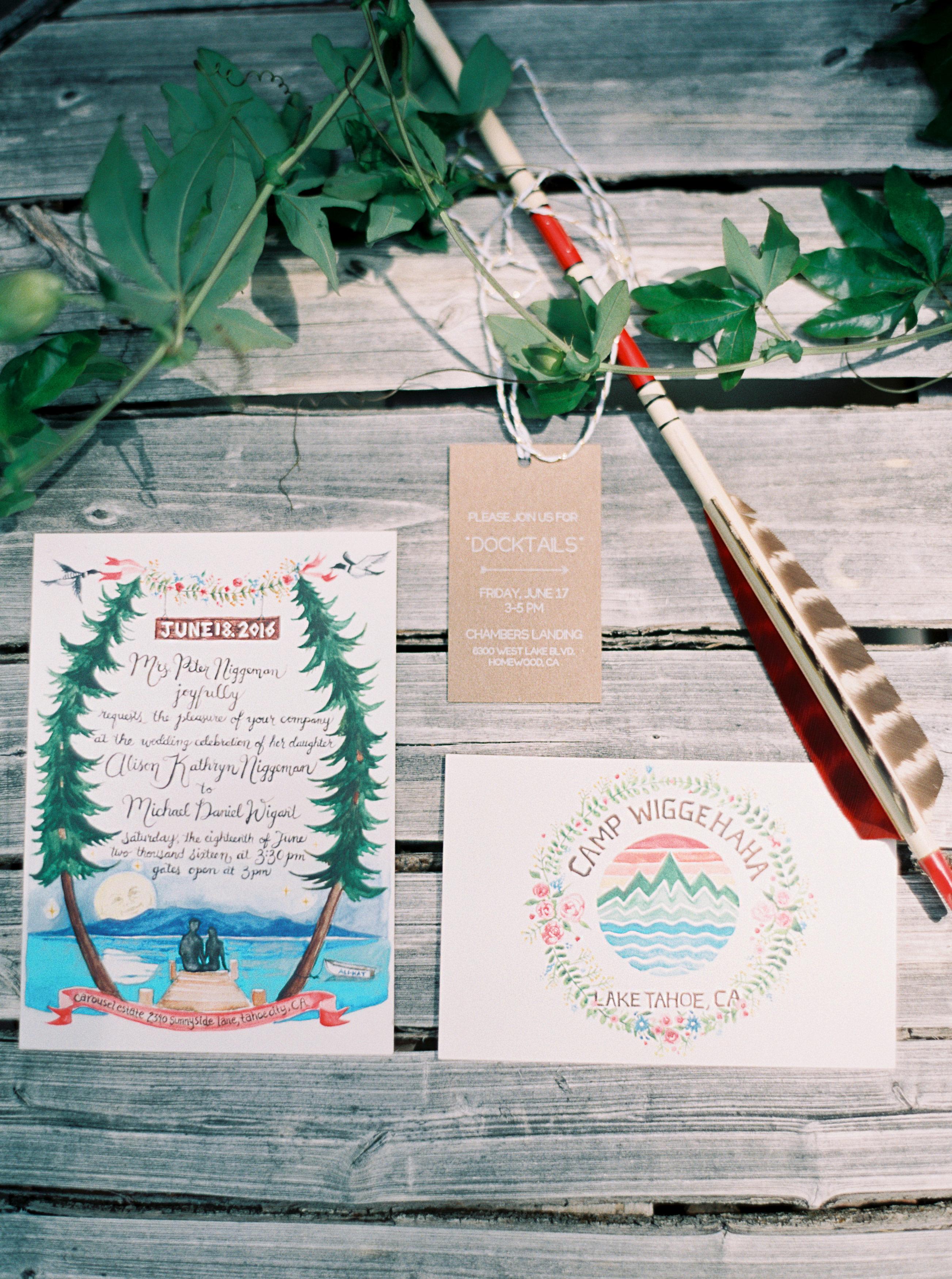 camp-themed wedding invitations