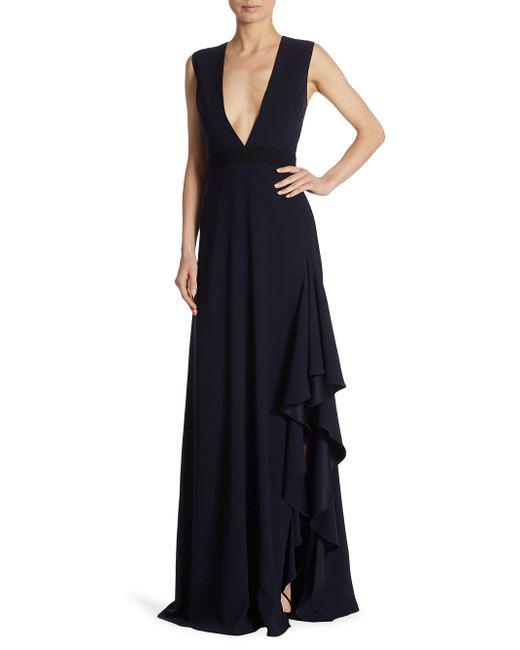 black monique lhuillier v-neck gown