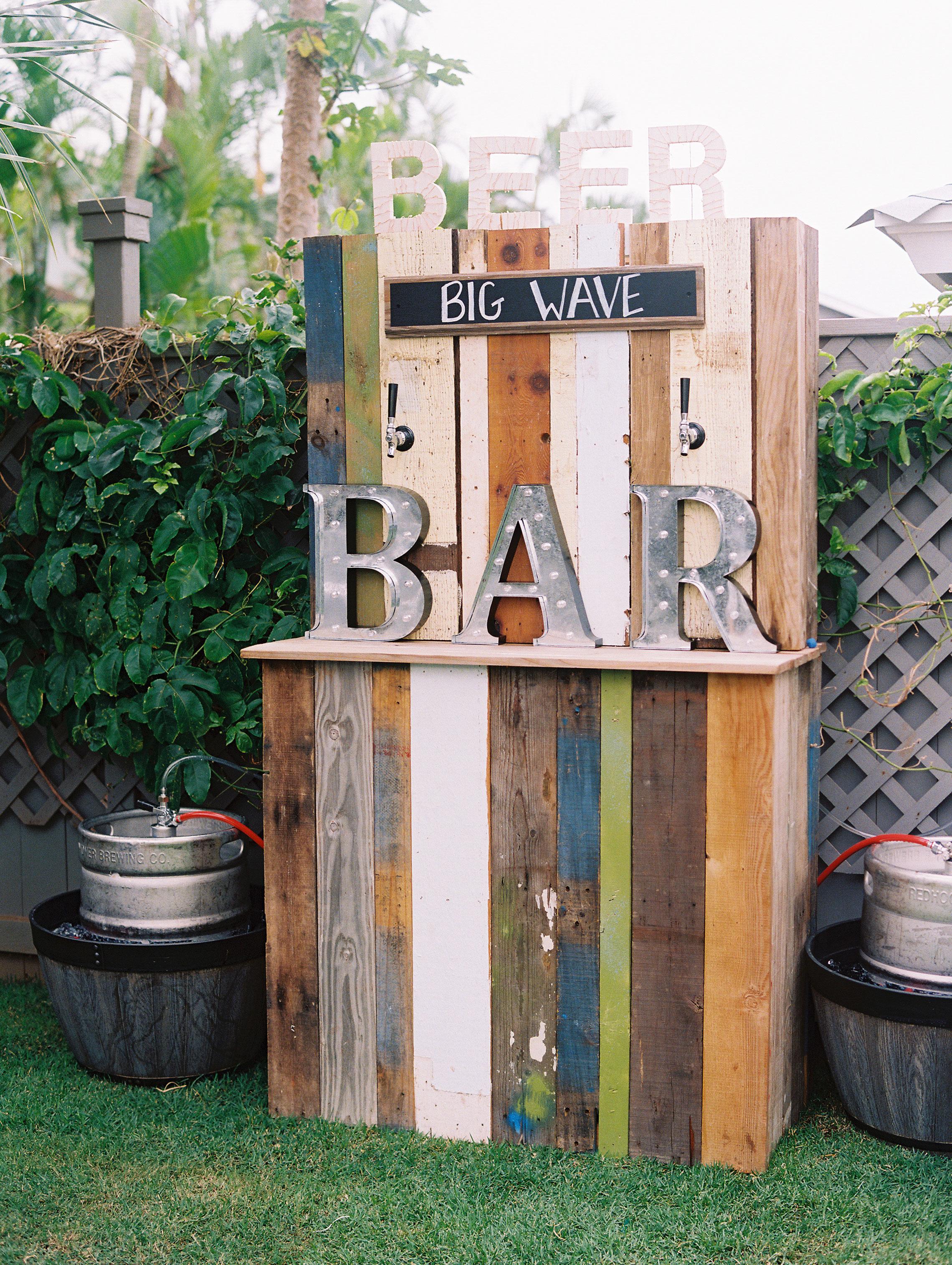 reclaimed wood wedding bar