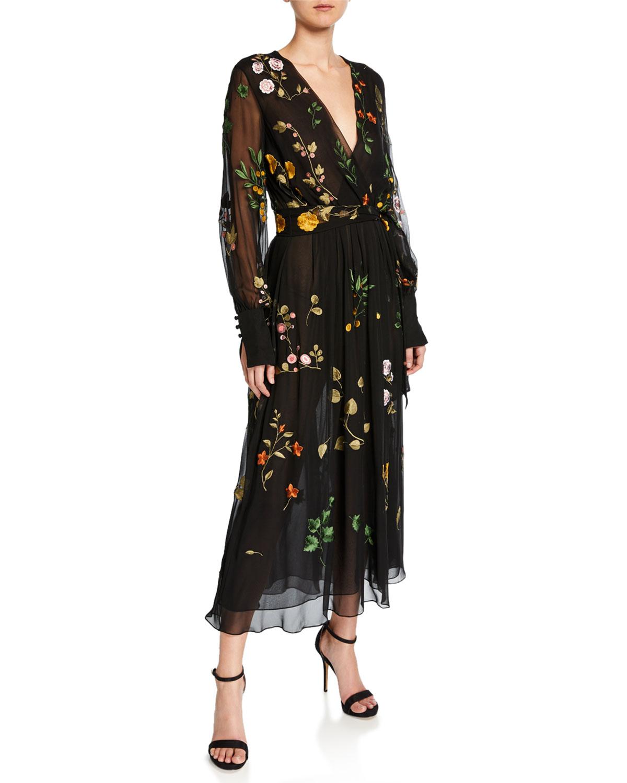 Oscar de la Renta Long-Sleeve A-Line Dress