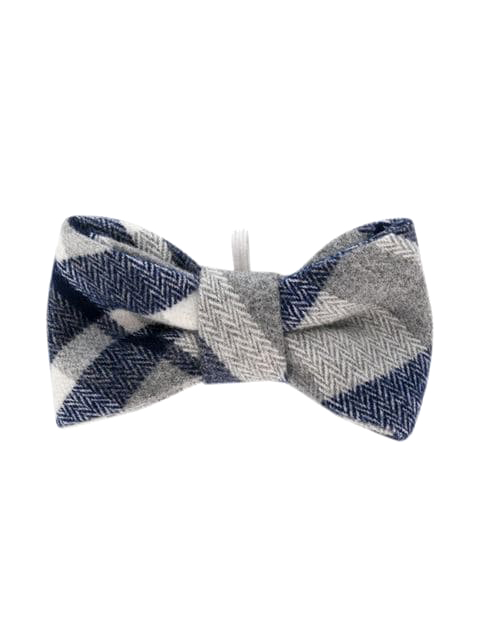 ring bearer navy white grey plaid bow tie
