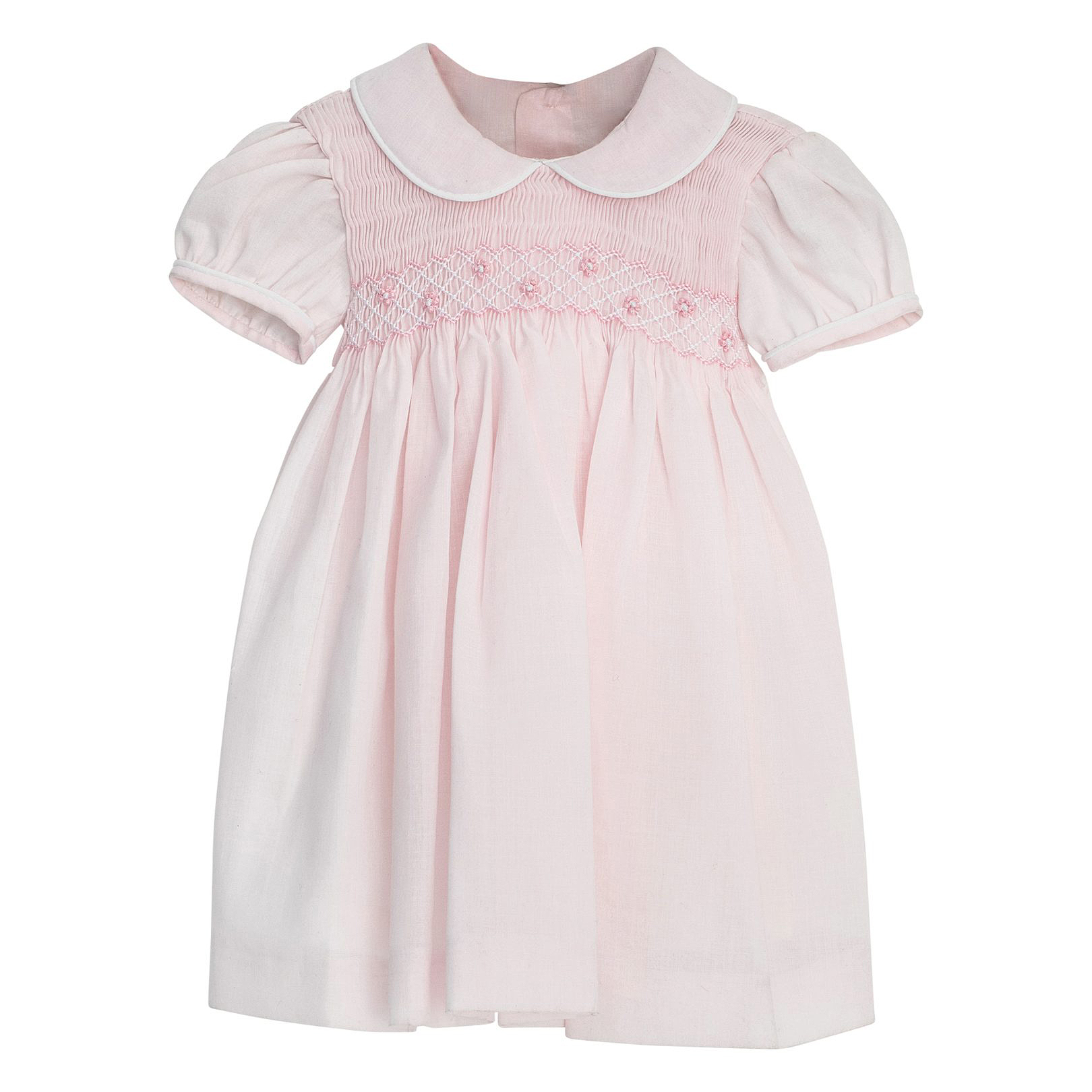 pink flower girl dress white collar