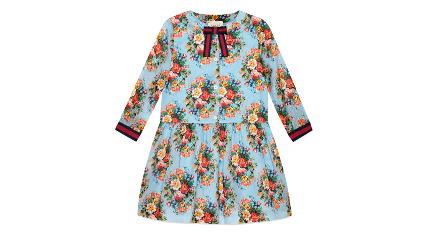 Gucci Long-Sleeve Floral Dress