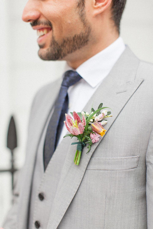 pink flower boutonniere
