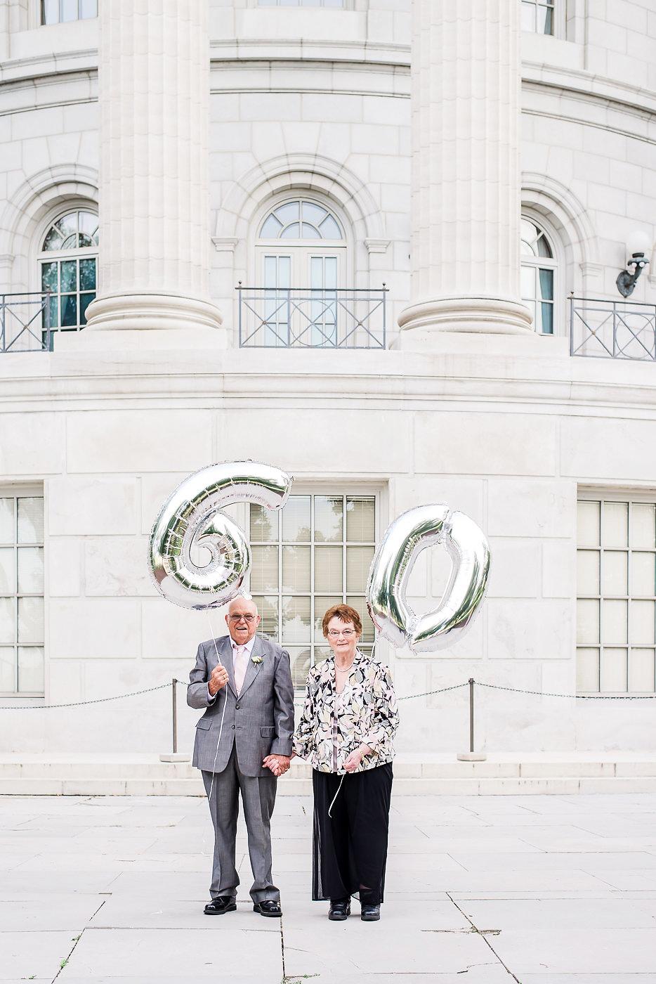 anniversary couple portrait balloons