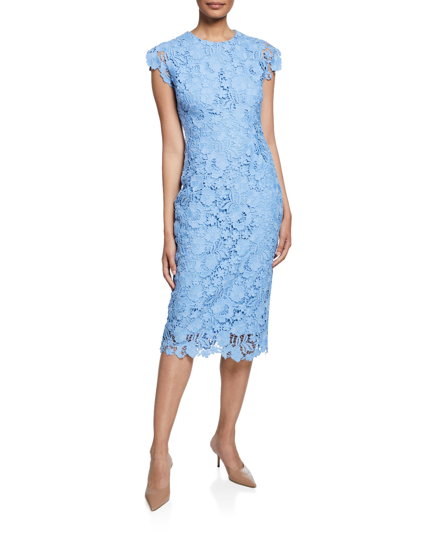 blue cap sleeve lace midi dress