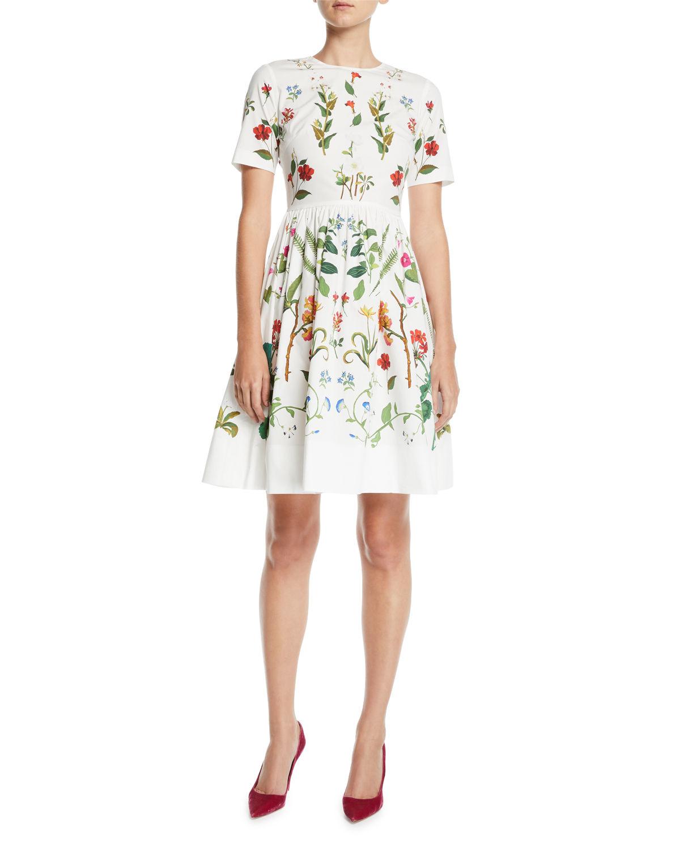 white knee length floral design dress