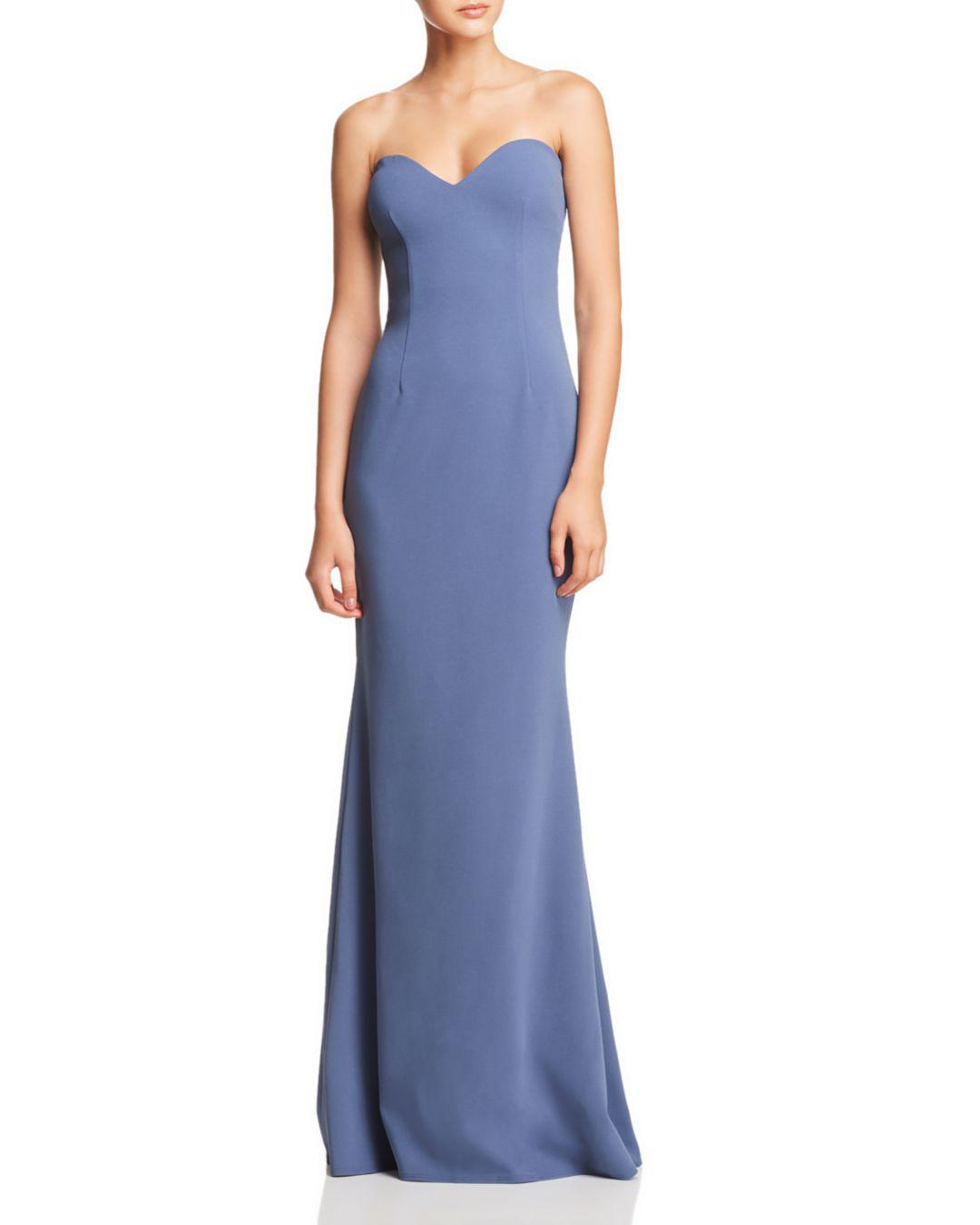 indigo strapless sweetheart maxi gown