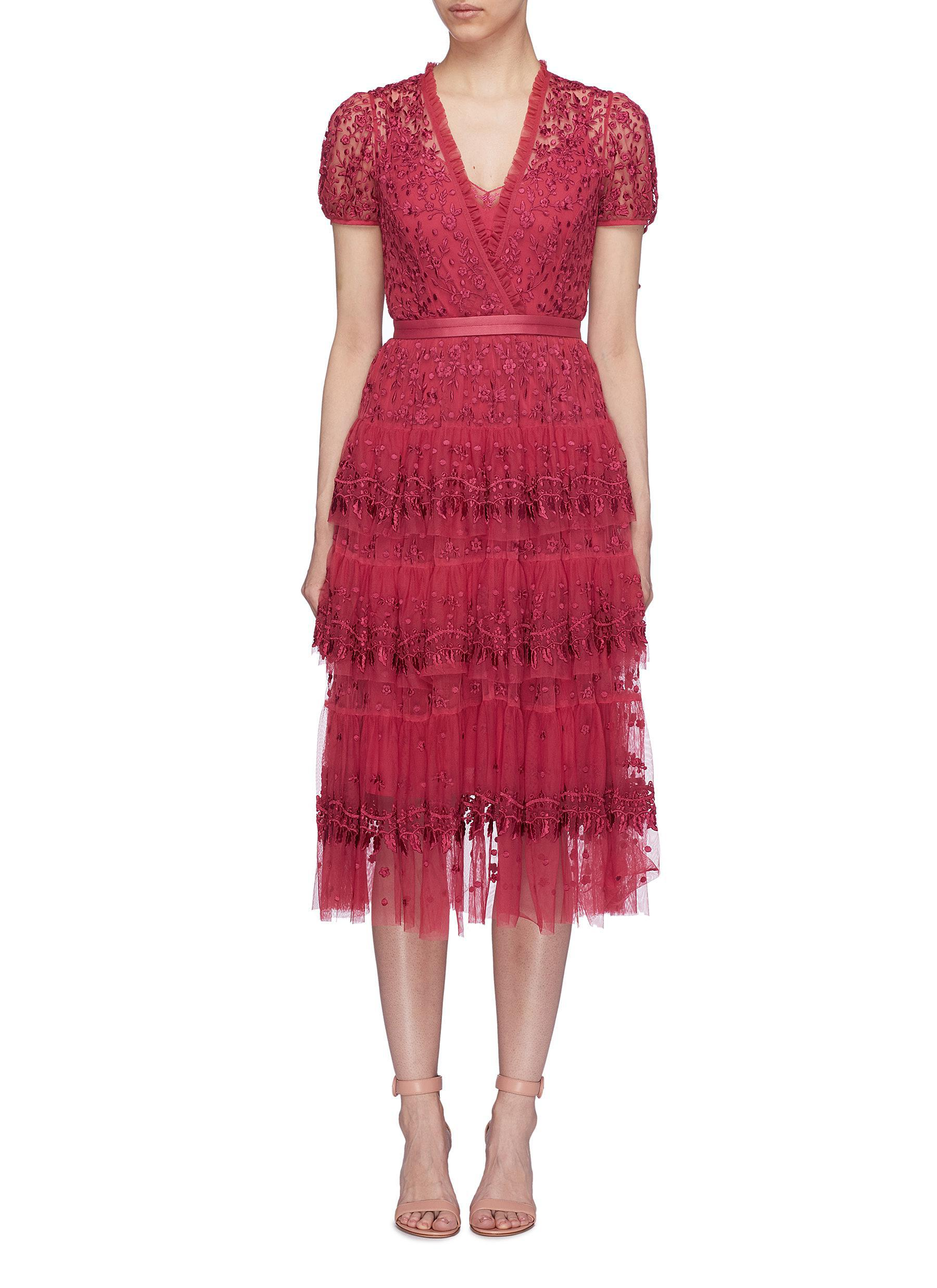 red capped sleeve belted waist lace midi dress