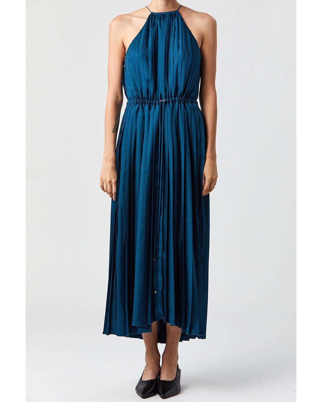 high neck blue twill pleated midi dress