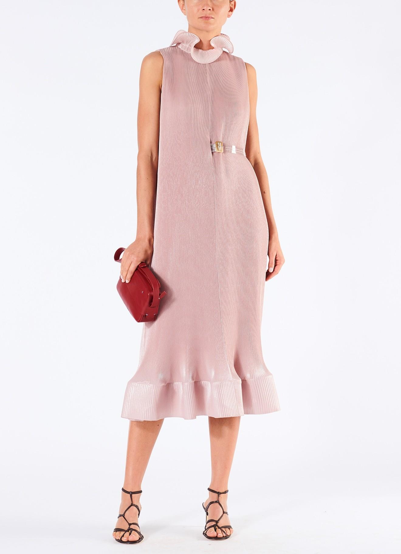 sleeveless pleated pink midi dress