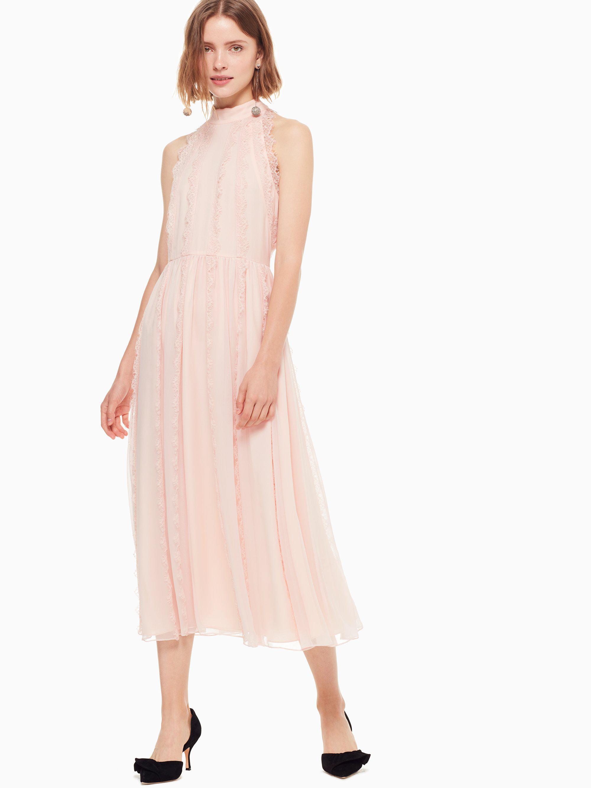 high neck pink lace midi dress