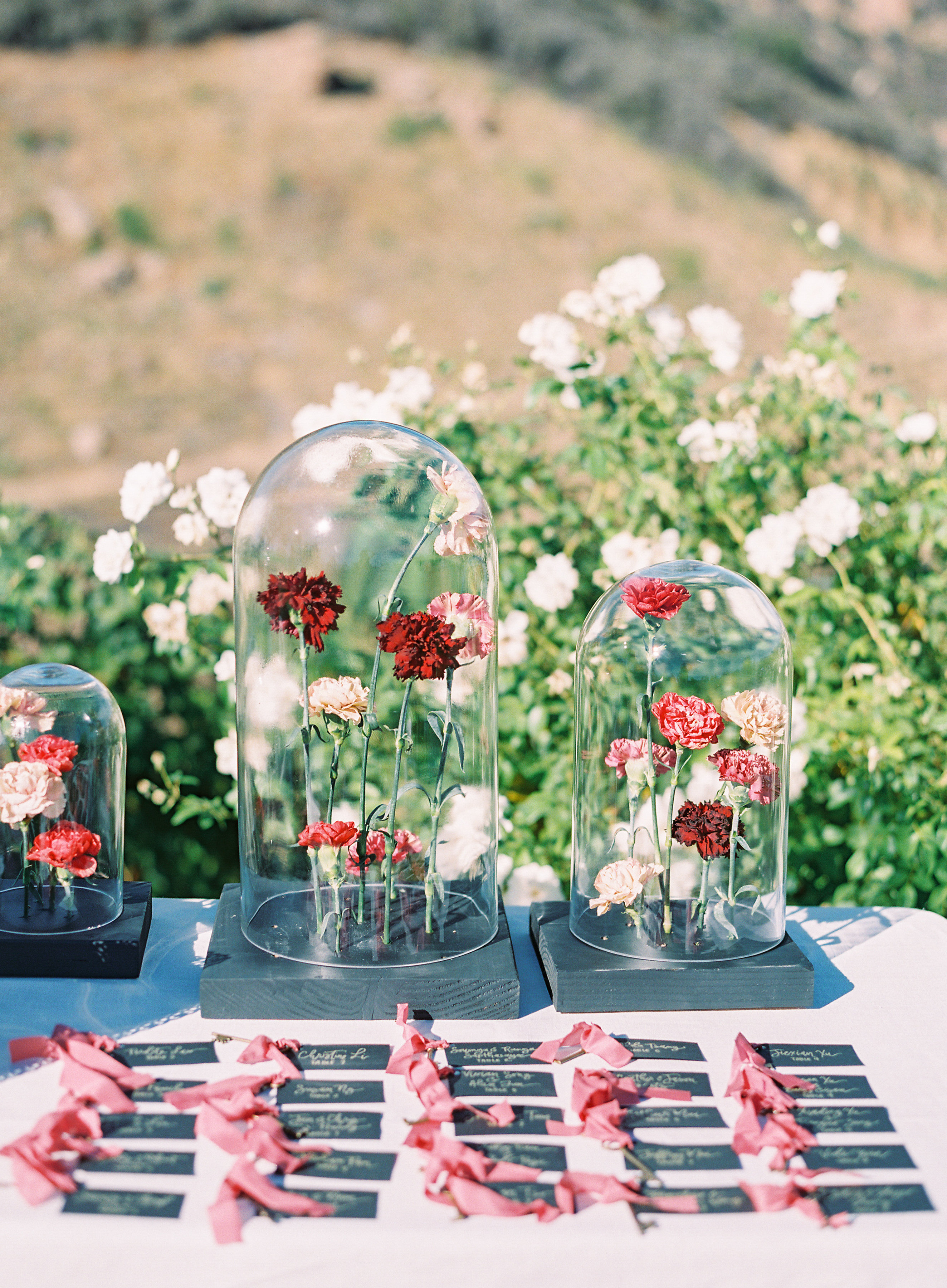 cloches flower stems escort cards