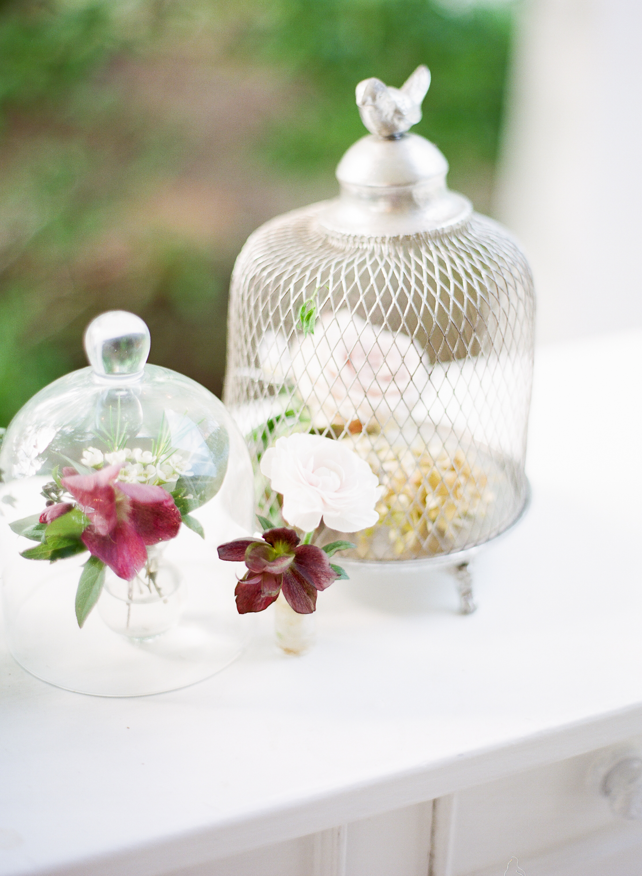 cloches flower centerpieces