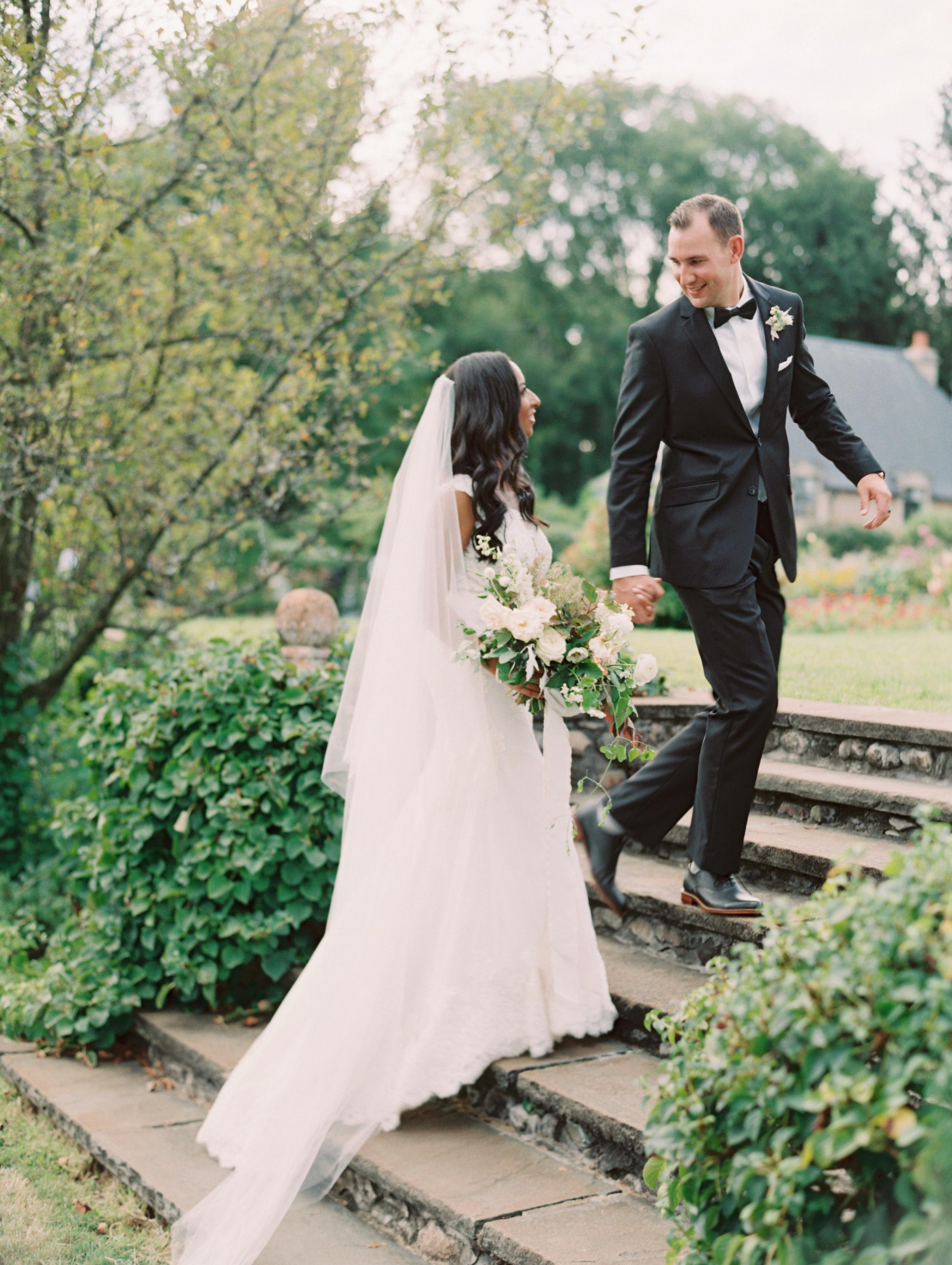 miya matthew wedding couple staircase