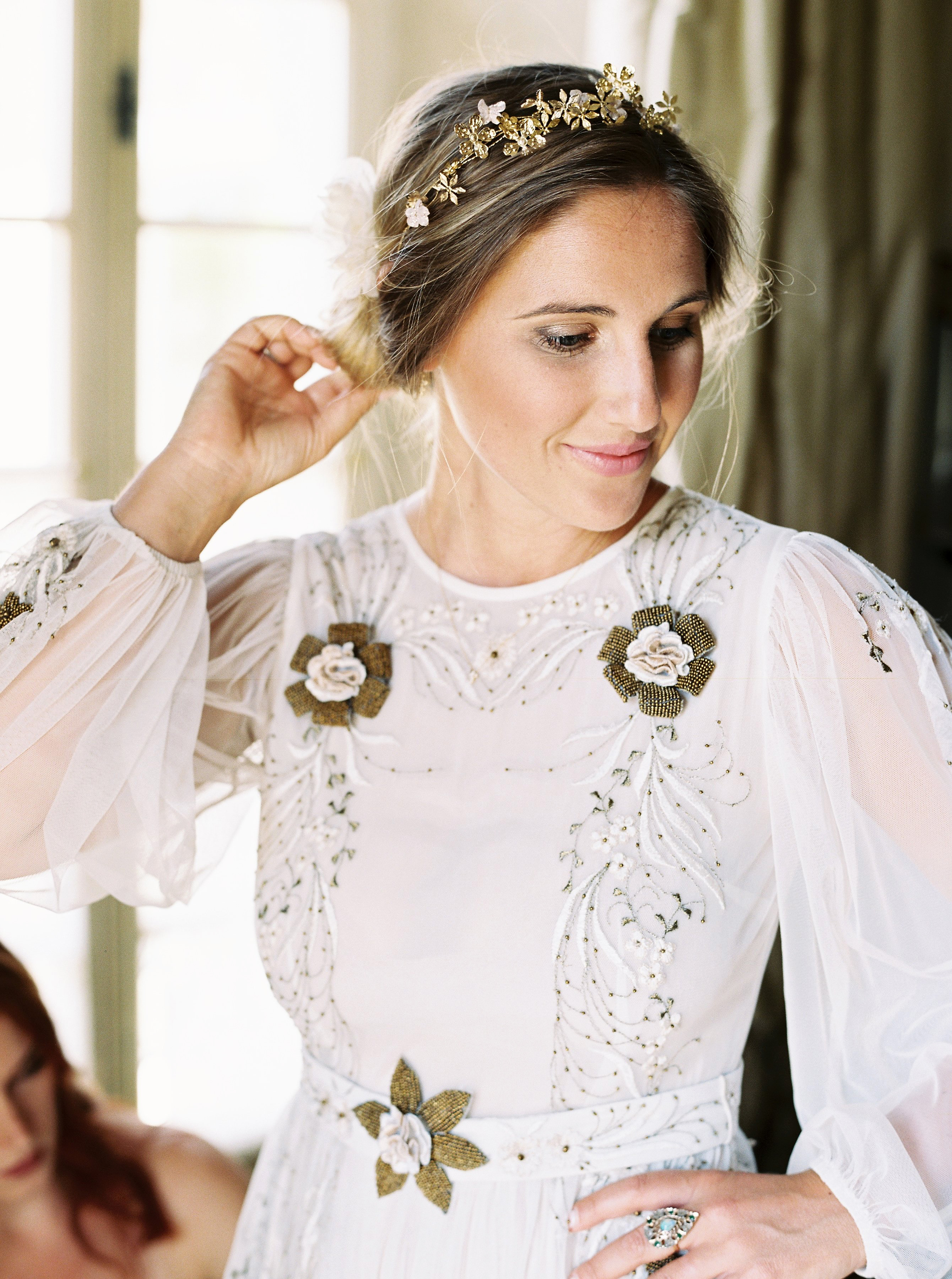 alexis zach wedding italy bride dress headband