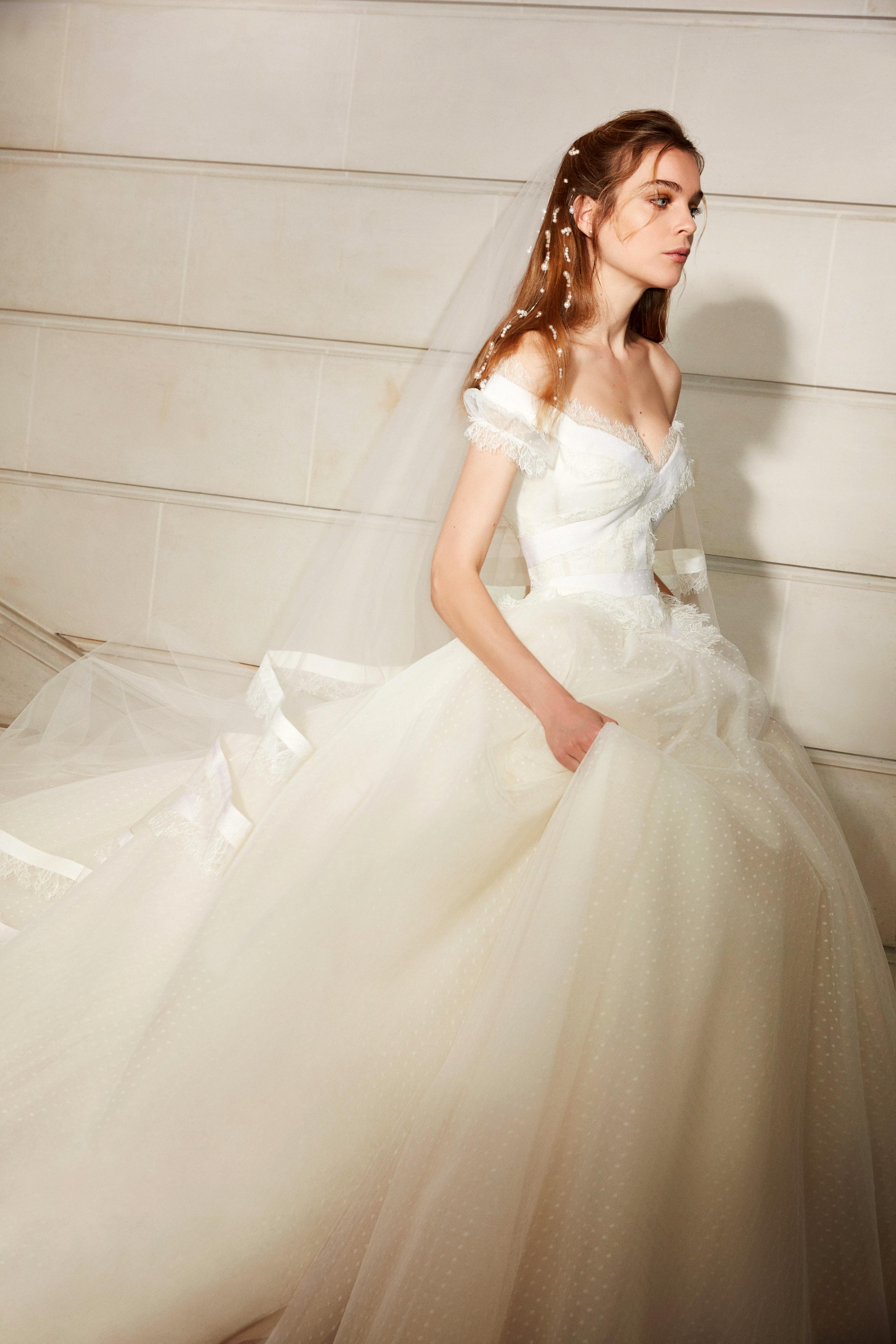 elie saab wedding dress spring 2019 off the shoulder tulle ballgown