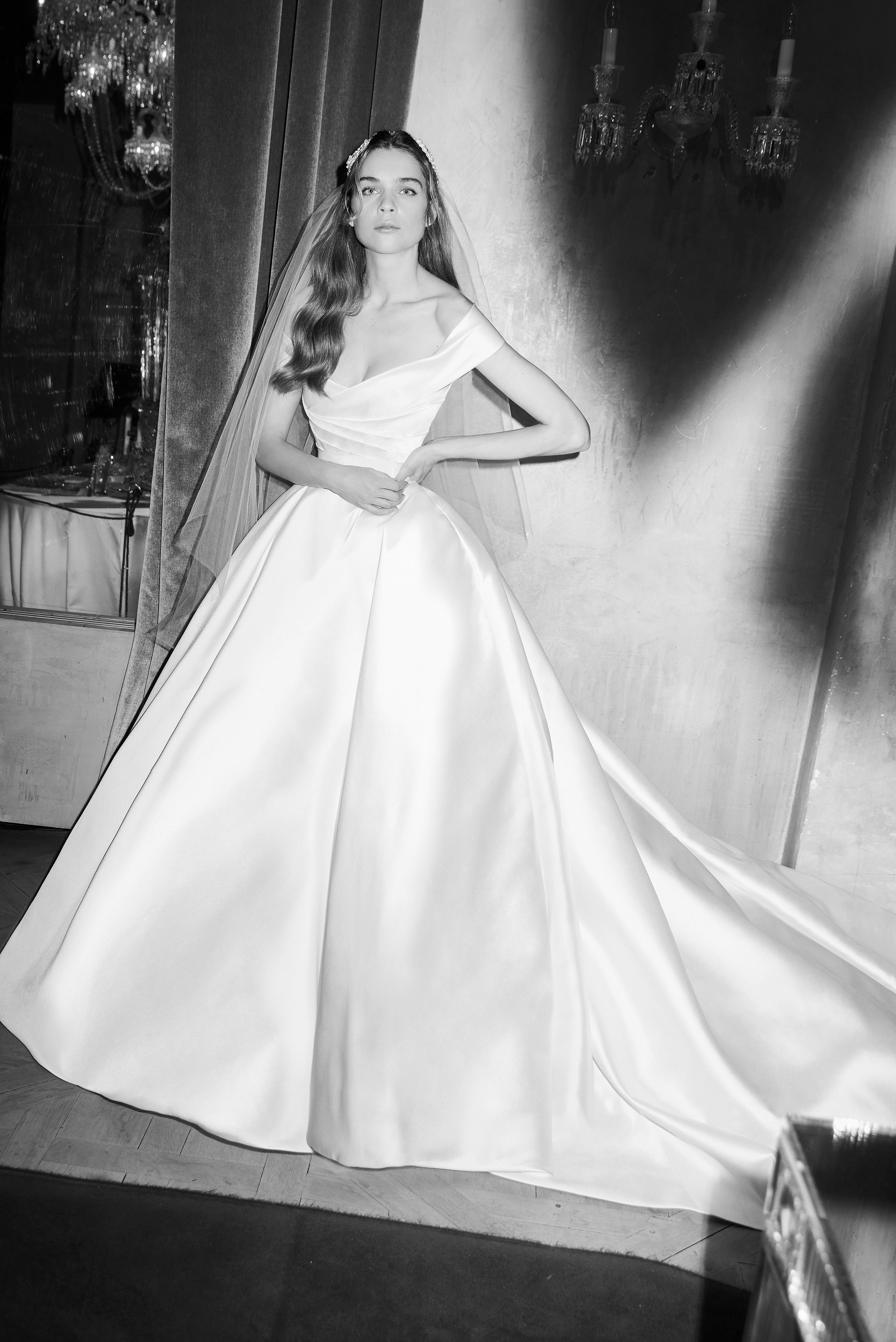 elie saab wedding dress spring 2019 off the shoulder satin ballgown