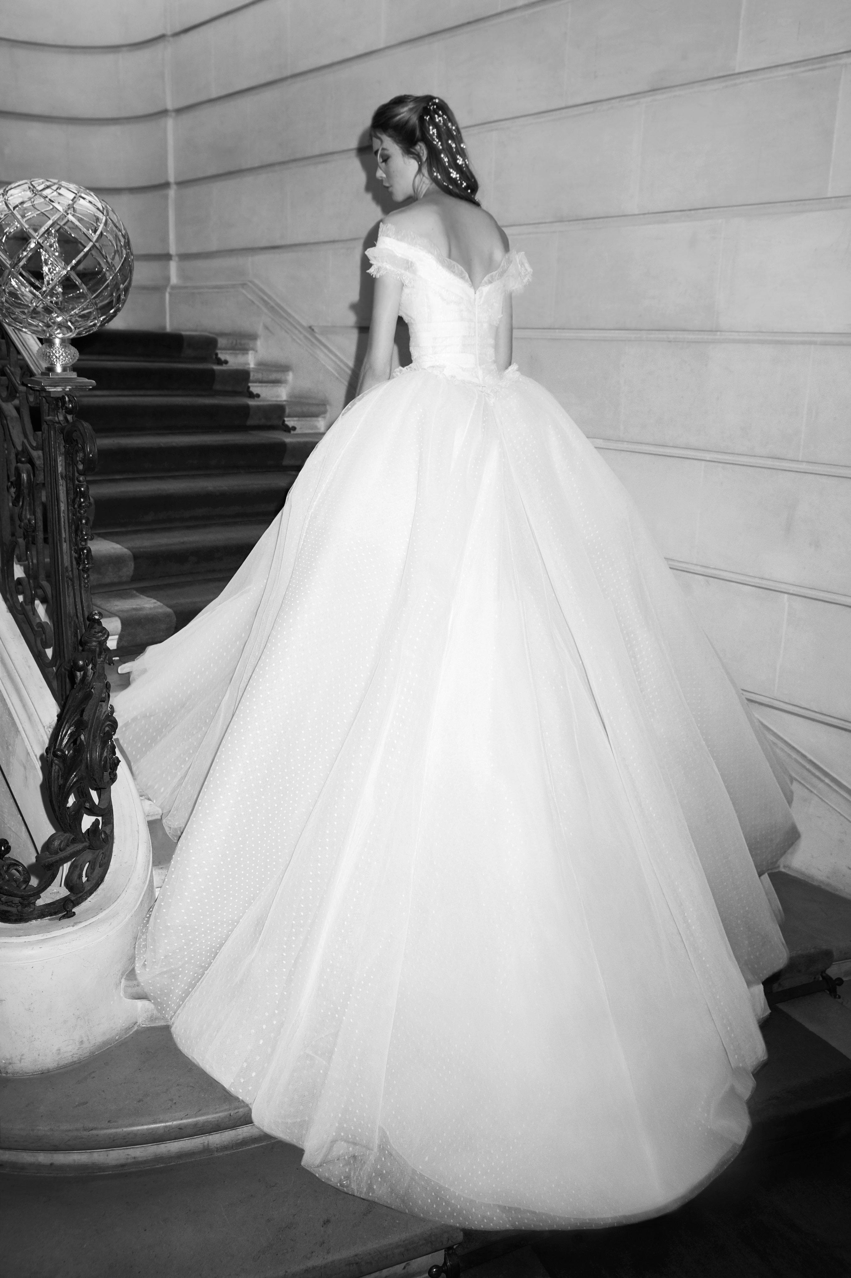 elie saab wedding dress spring 2019 off the shoulder tulle ballgown back