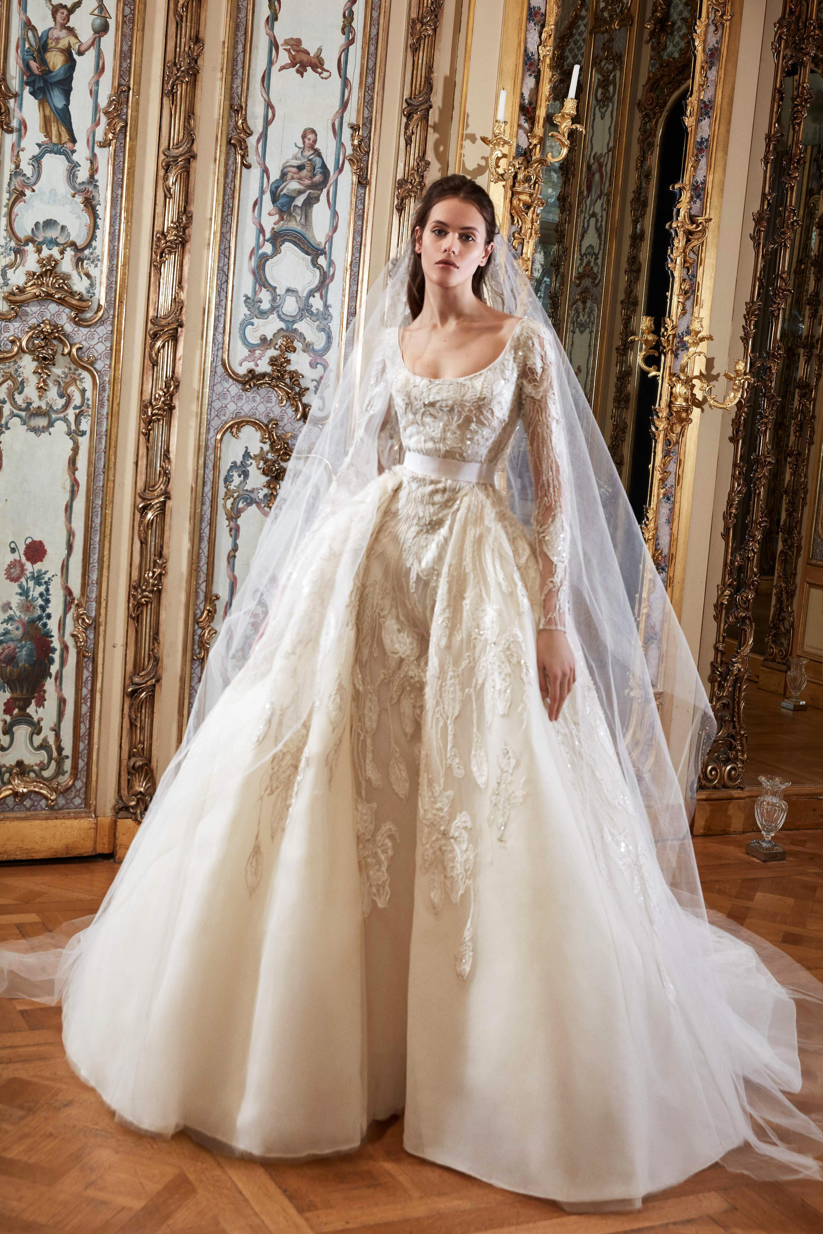 elie saab wedding dress spring 2019 long sleeves embellished ballgown