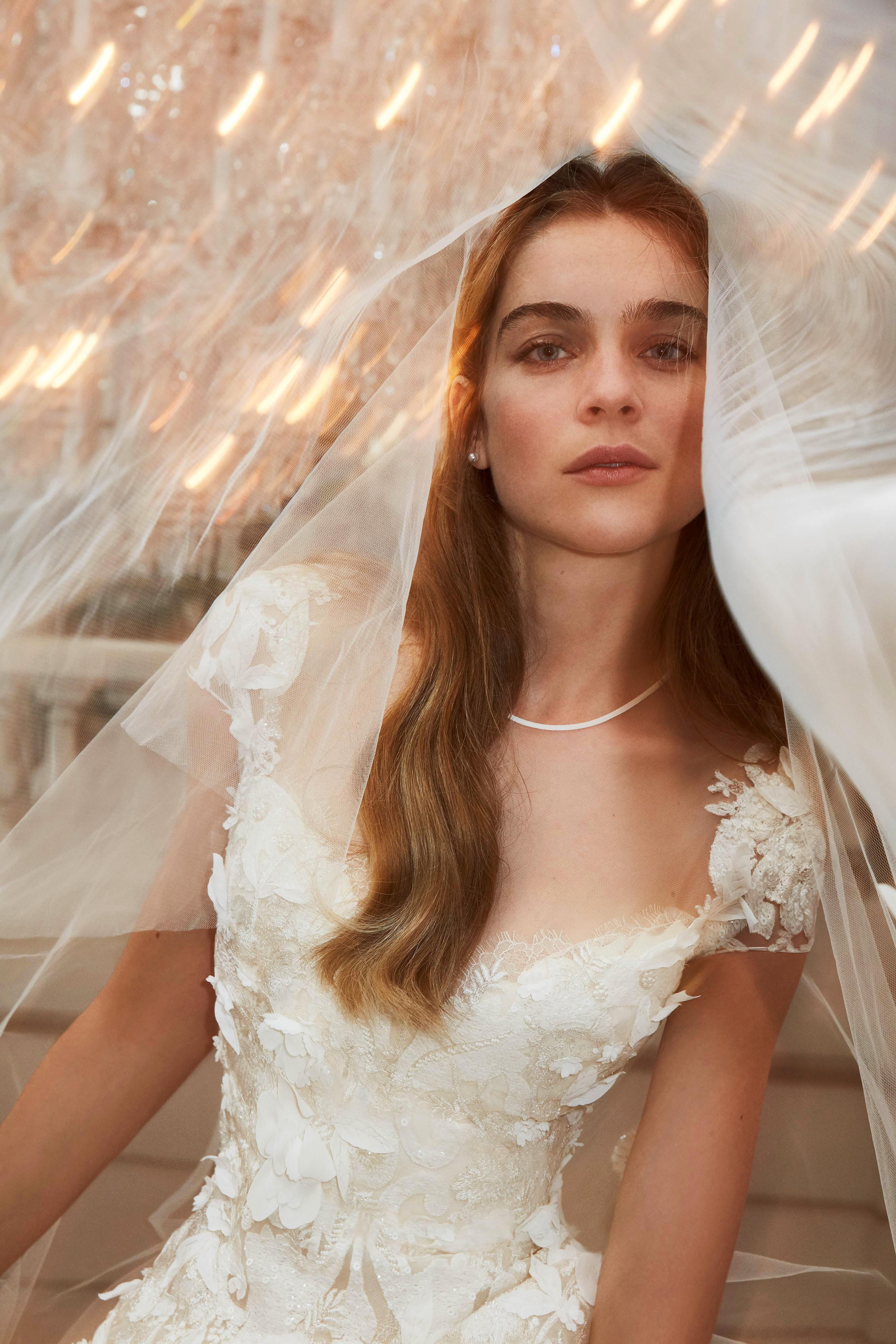 elie saab wedding dress spring 2019 cap sleeves floral embroidery