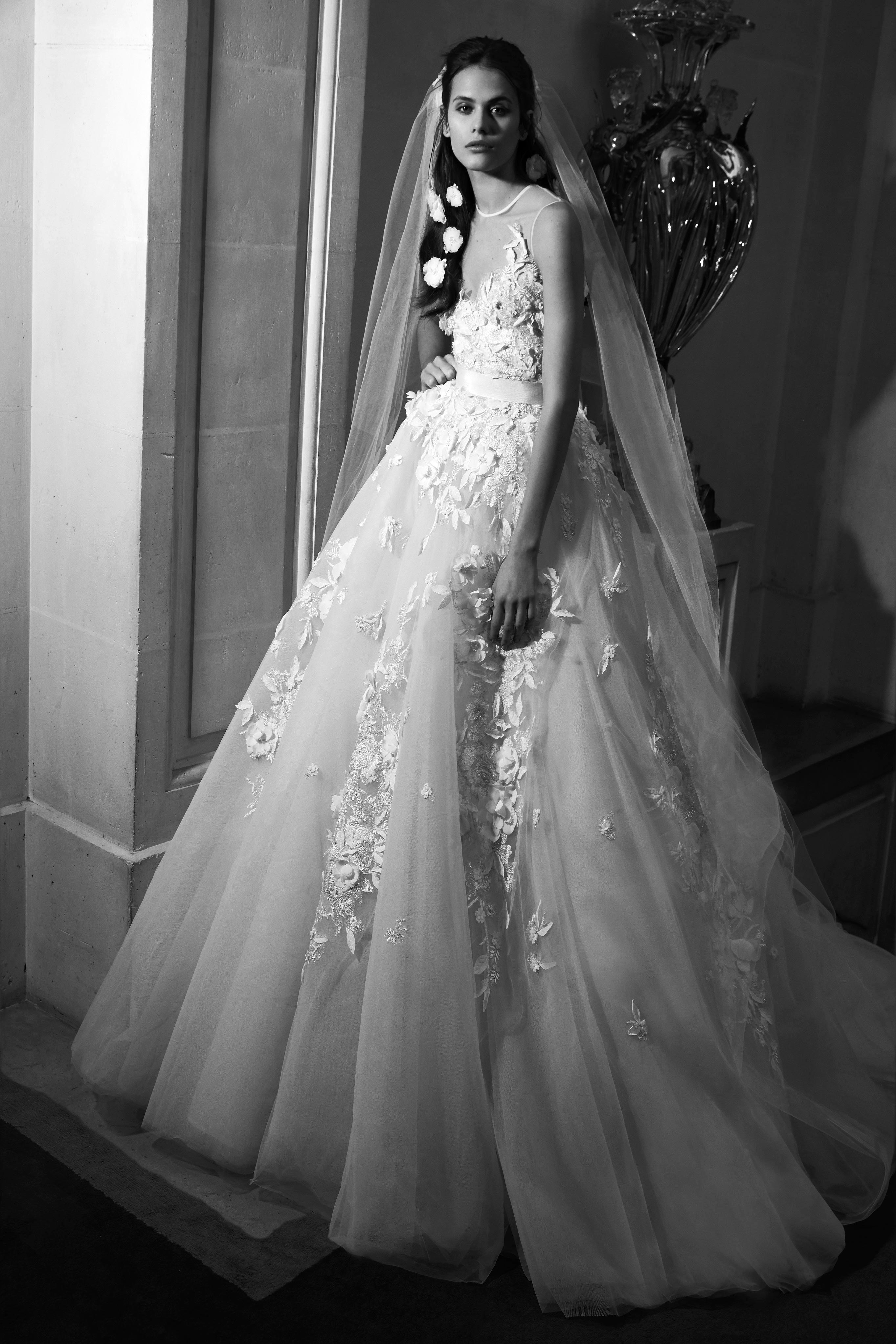 elie saab wedding dress spring 2019 illusion floral embroidery ballgown