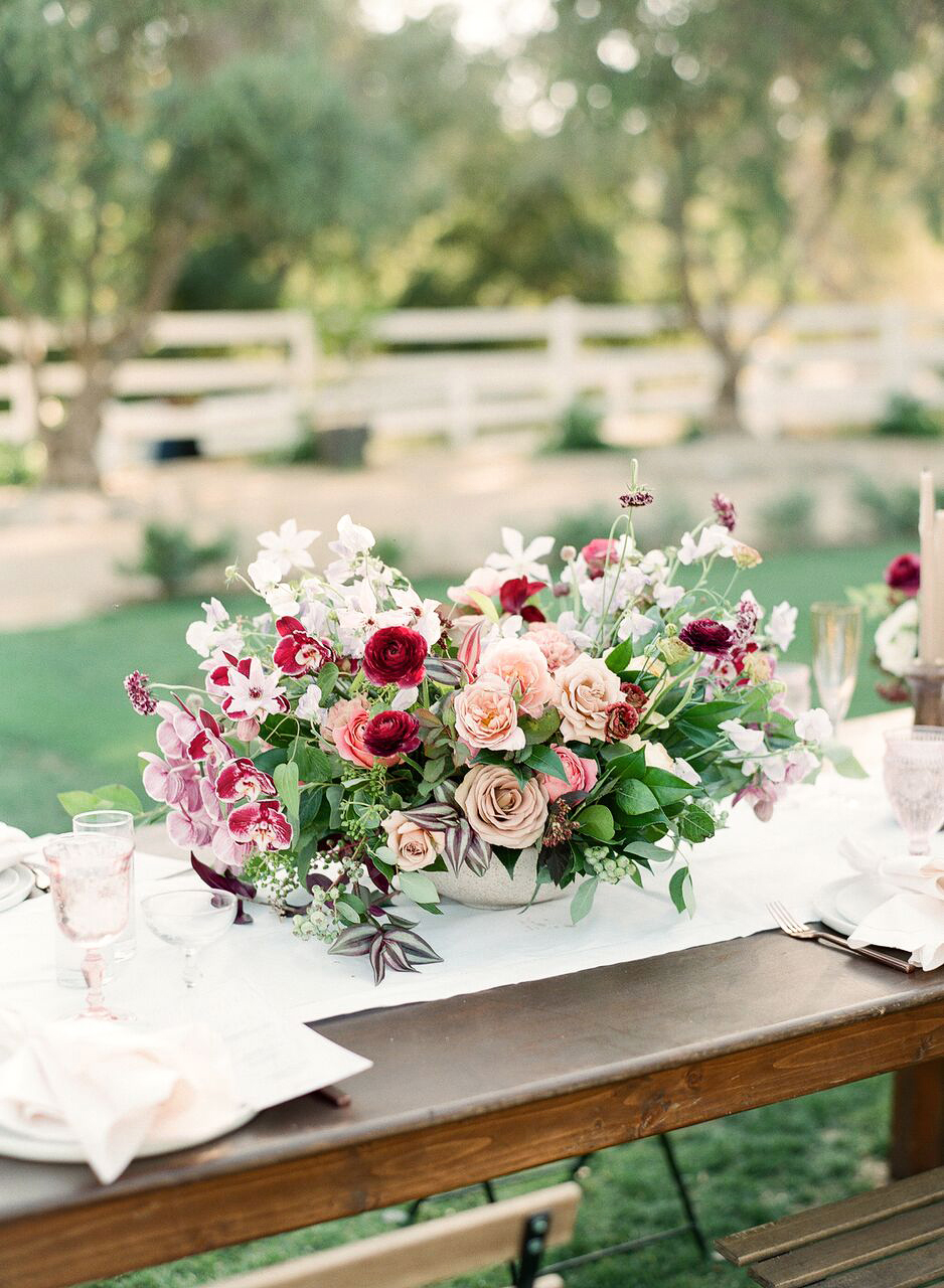 pink red floral centerpiece