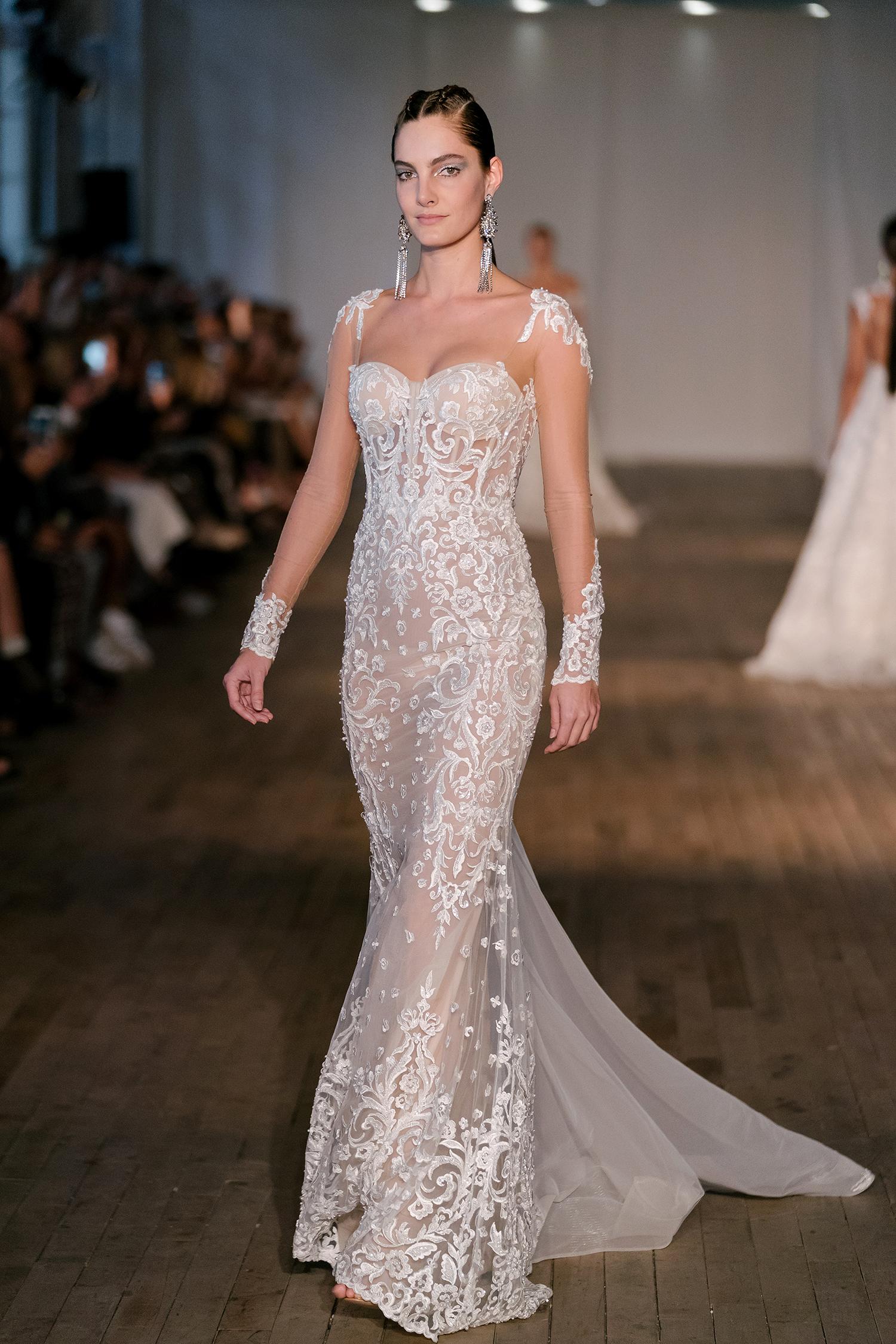 berta wedding dress spring 2019 lace sheer long-sleeved sheath