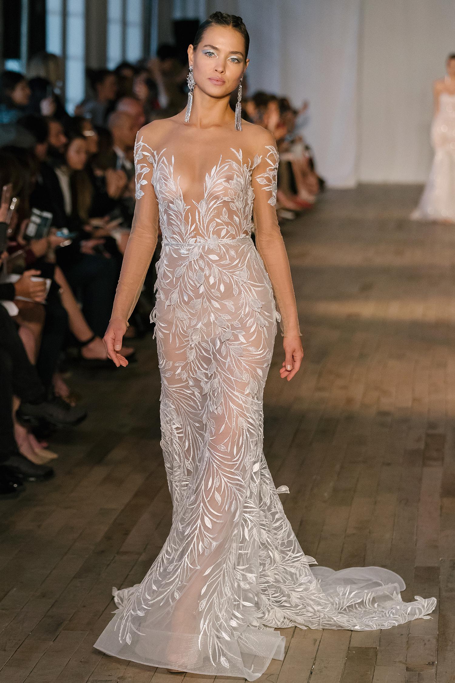 berta wedding dress spring 2019 sheer trailing vine detail