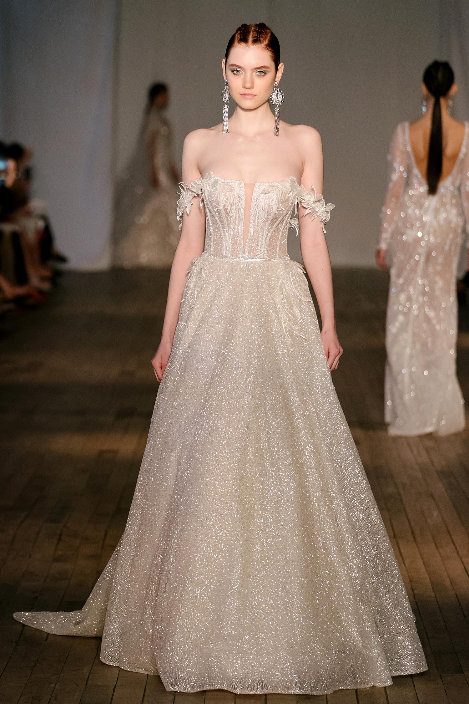berta wedding dress spring 2019 off-the-shoulder applique detail