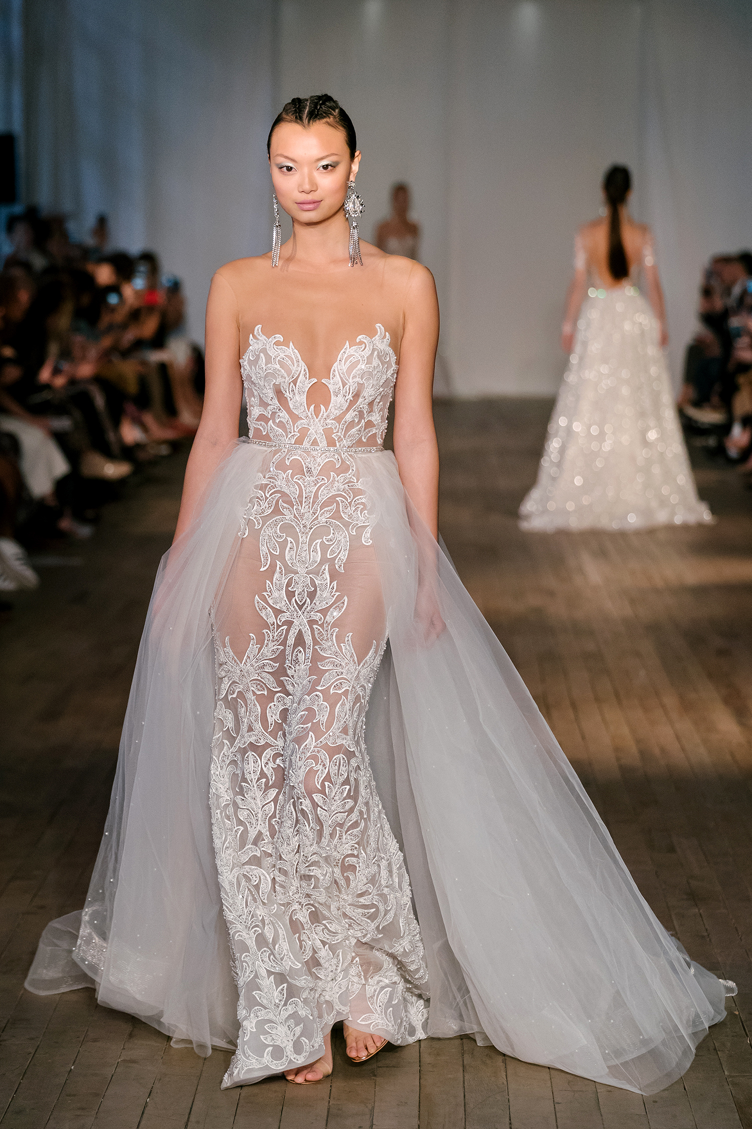 berta wedding dress spring 2019 illusion neck sheer side tulle panels
