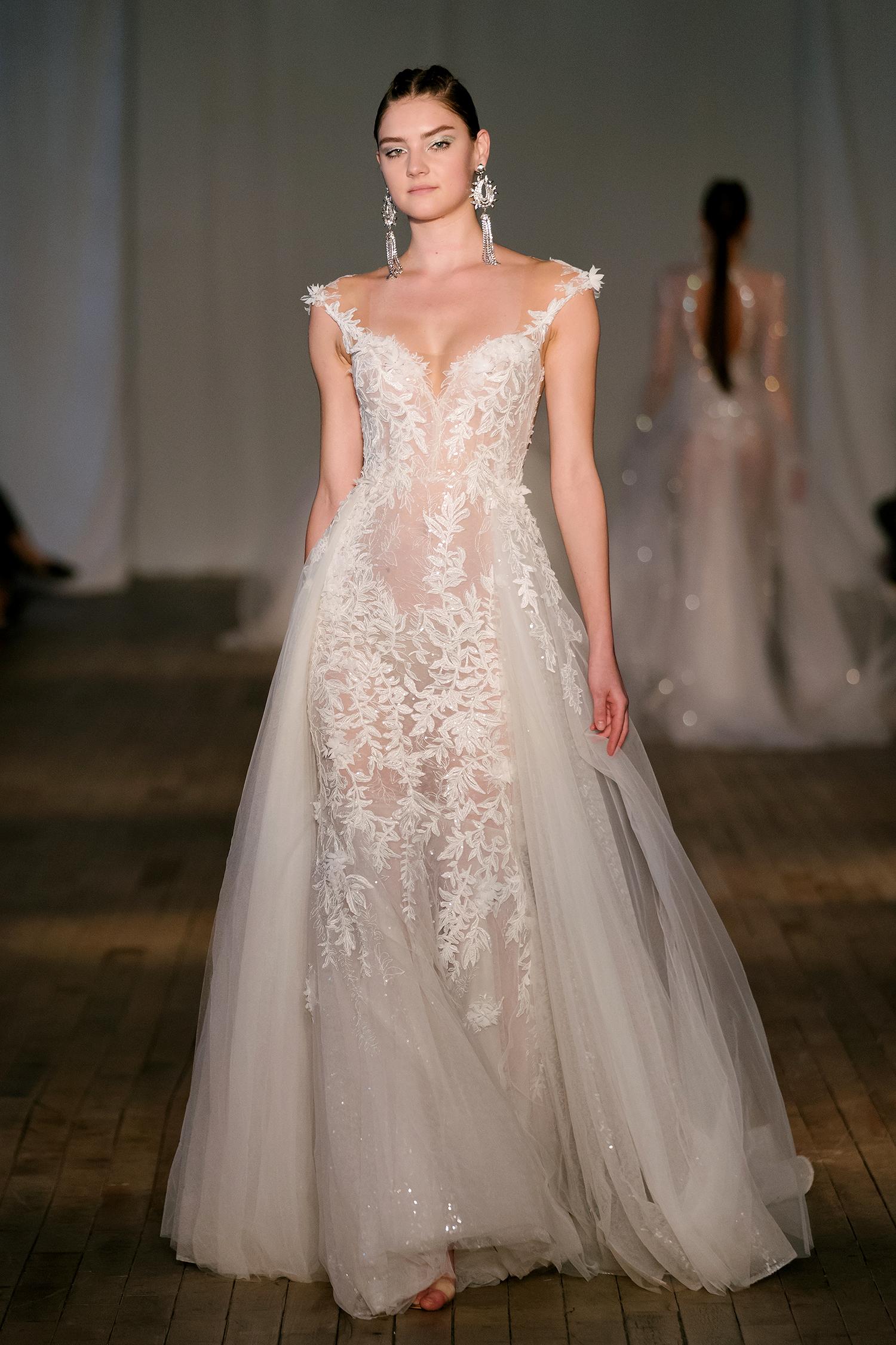 berta wedding dress spring 2019 off-the-shoulder a-line tulle panels