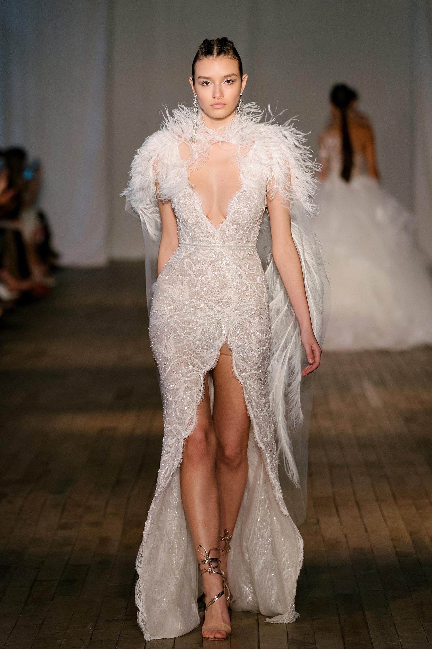 berta wedding dress spring 2019 scalloped slit feathered cape