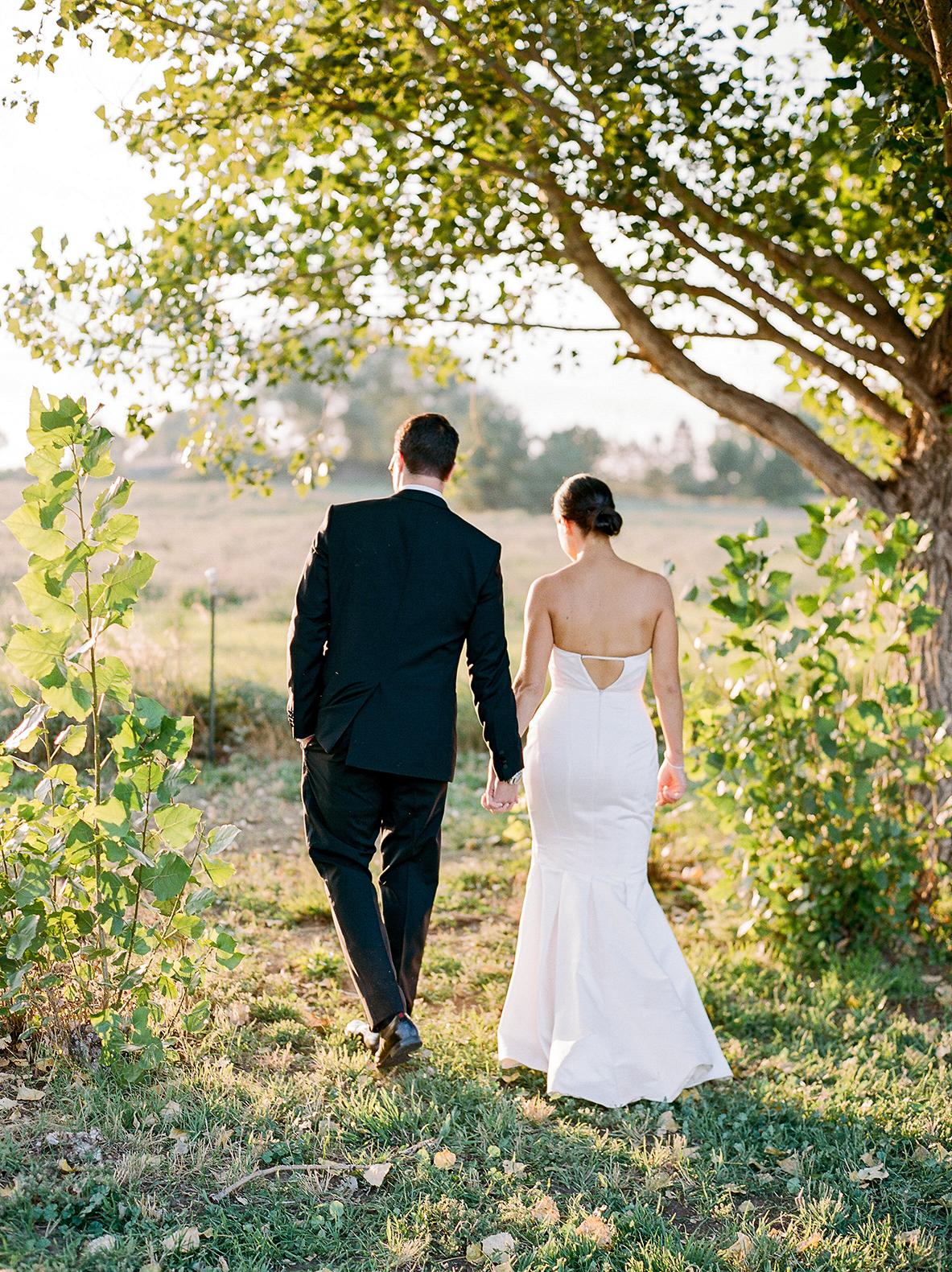 jamie jon wedding couple walking on path
