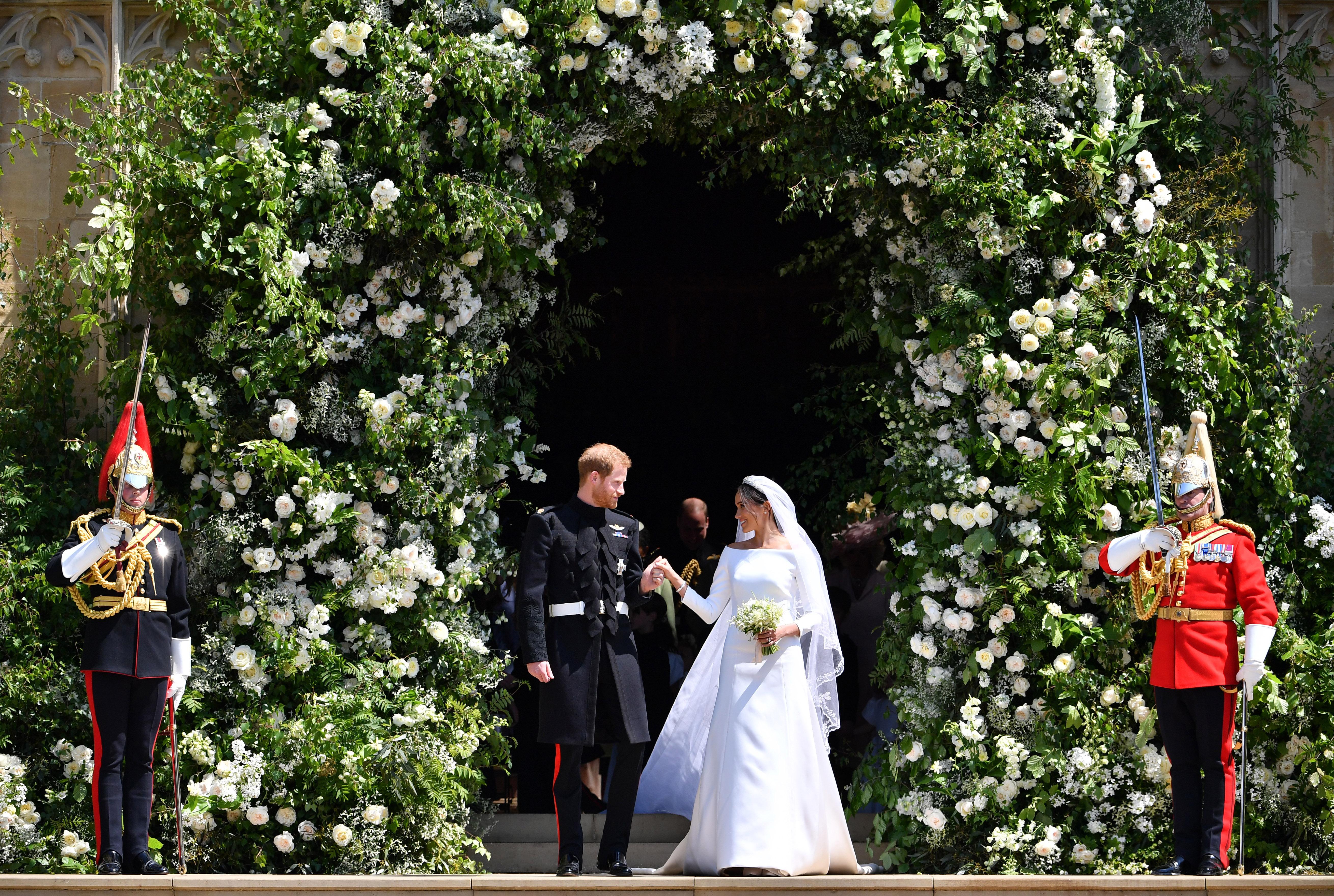 Prince Harry and Meghan Markle recessional royal wedding 2018
