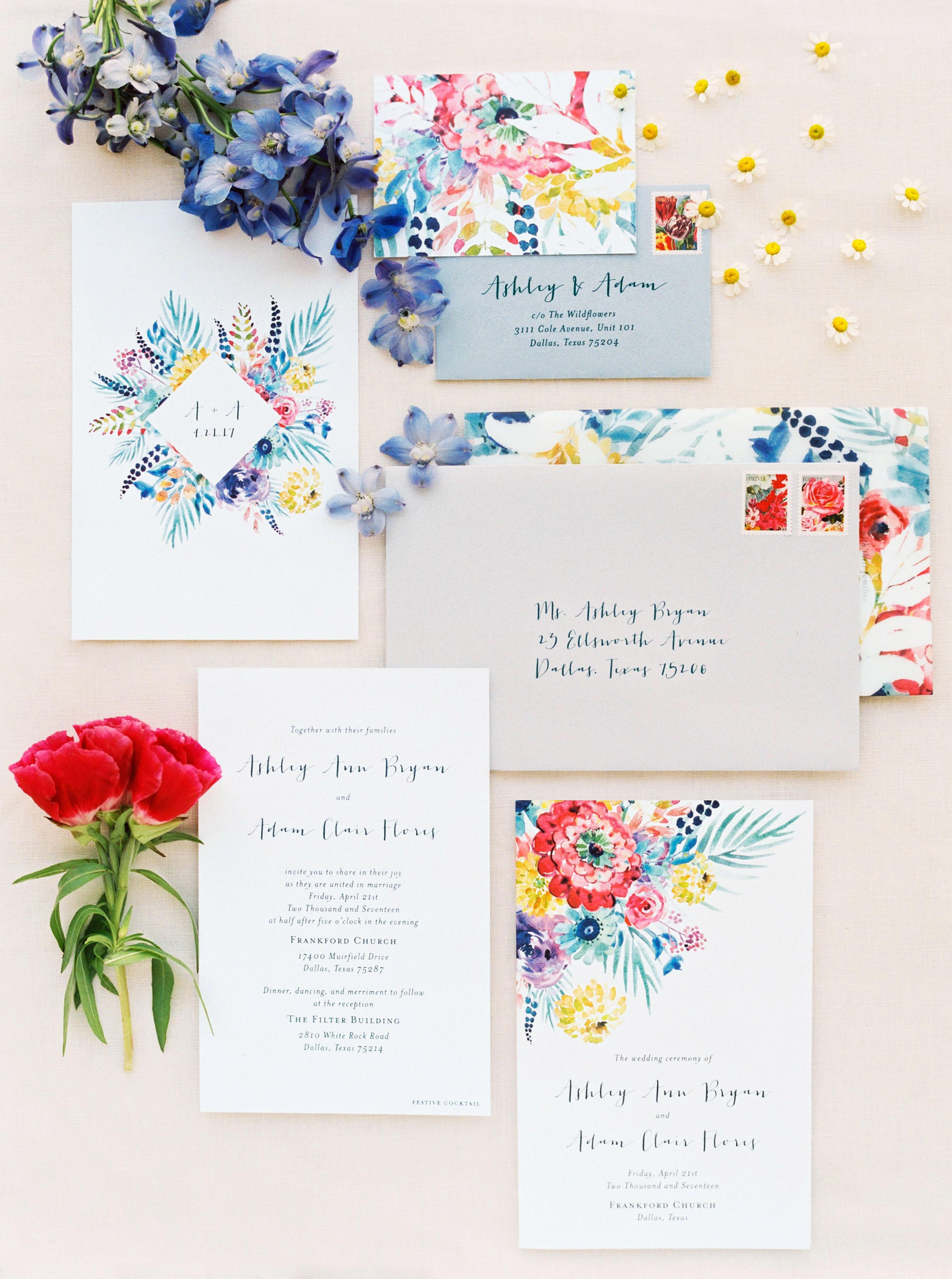 ashley adam wedding texas stationery