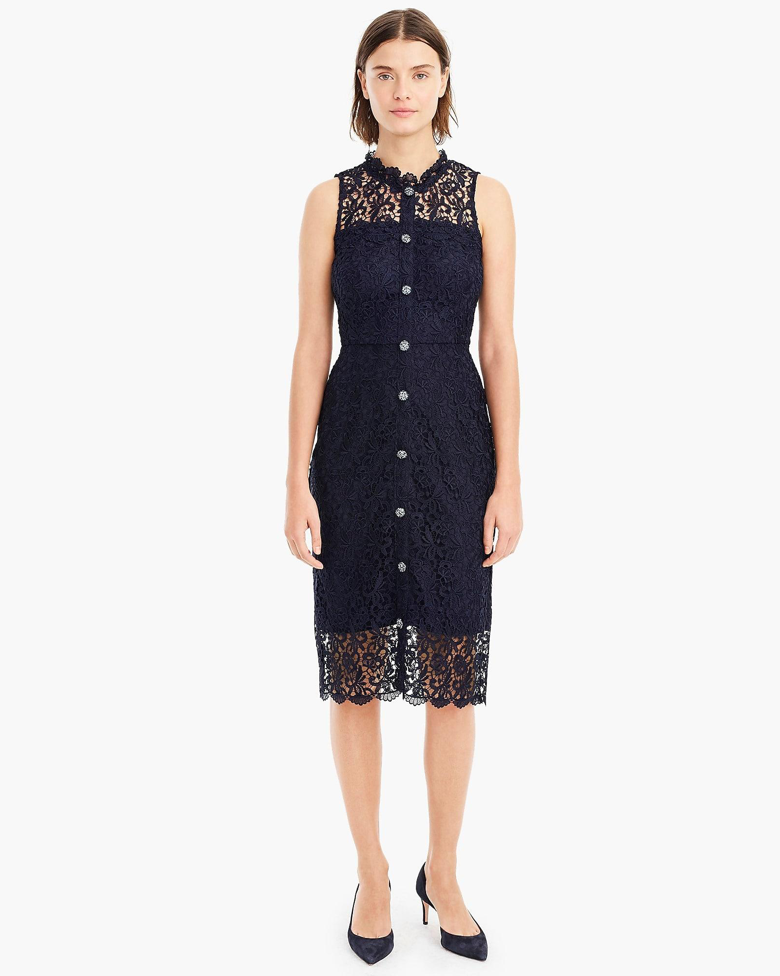 J. Crew Sleeveless Guipure Lace Sheath Dress with Jewel Buttons