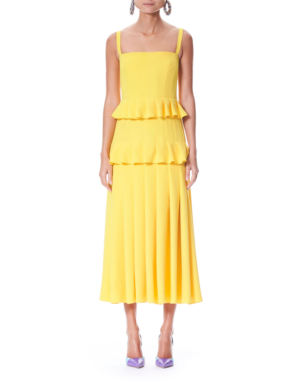 Carolina Herrera Pleated Silk Crepe Midi Dress
