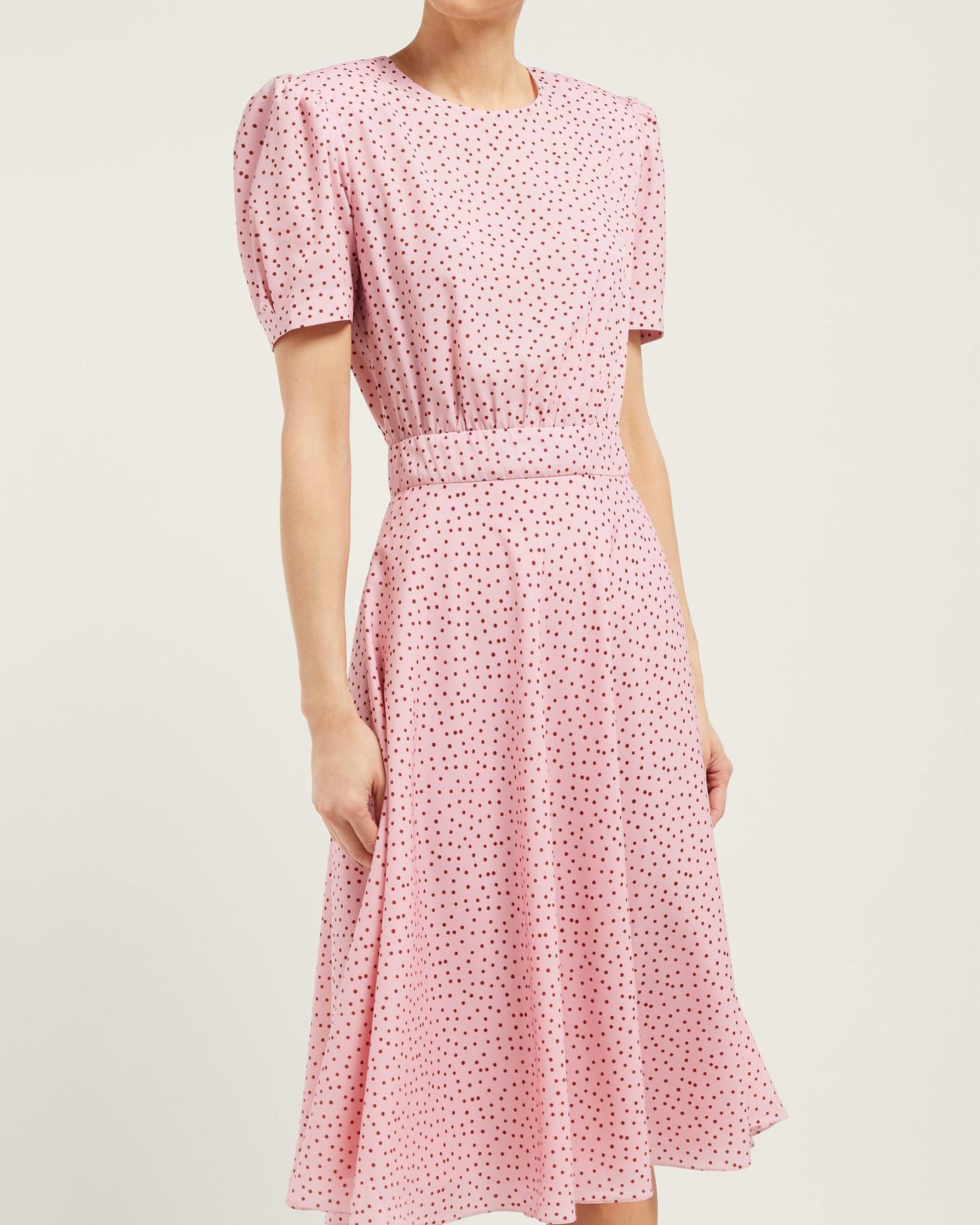 Vika Gazinskaya Polka Dot Print Crepe Midi Dress